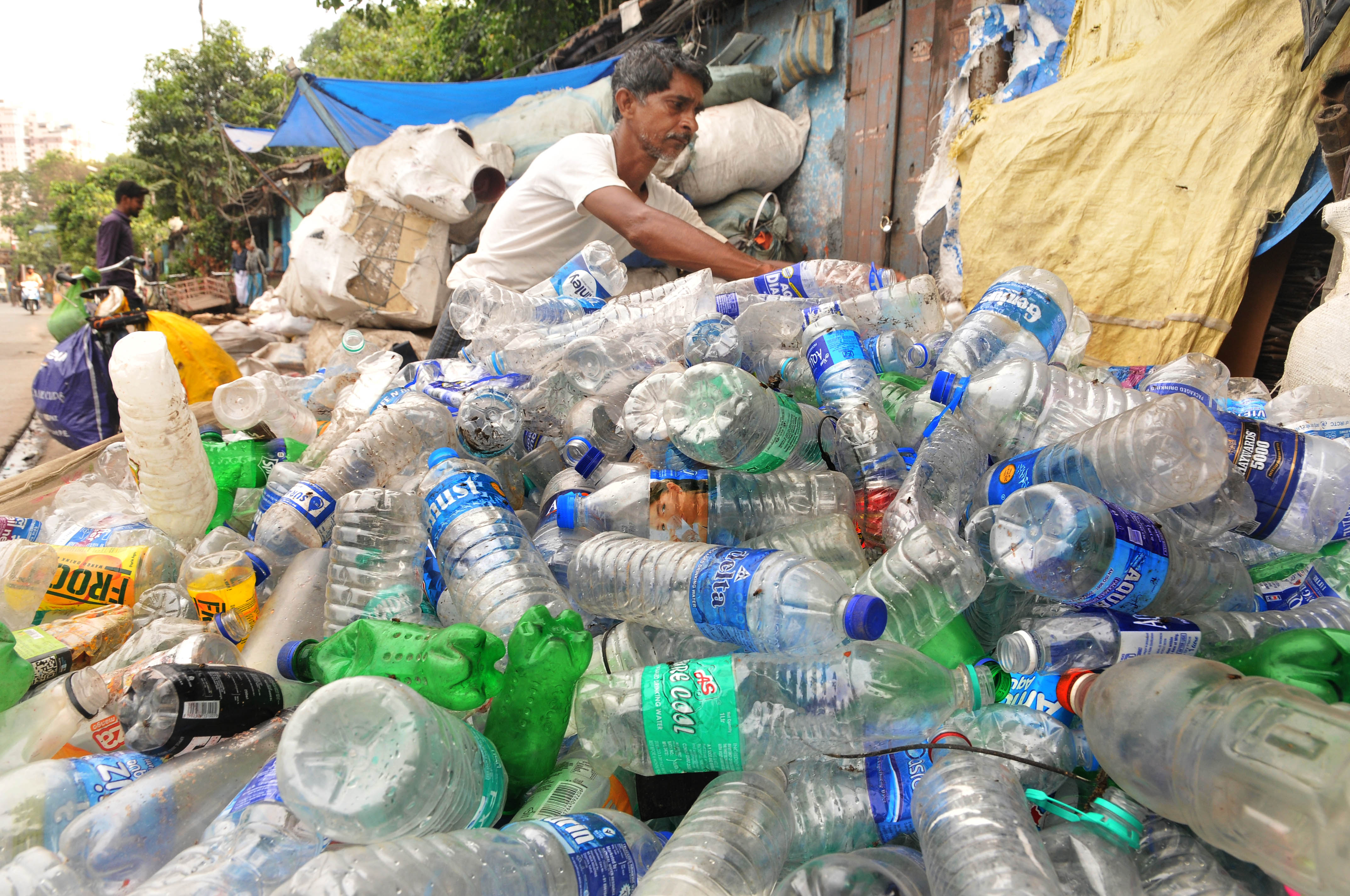 Plastic material at a dump yard during the 'World Environment Day' in Kolkata, India, on June 5, 2018.