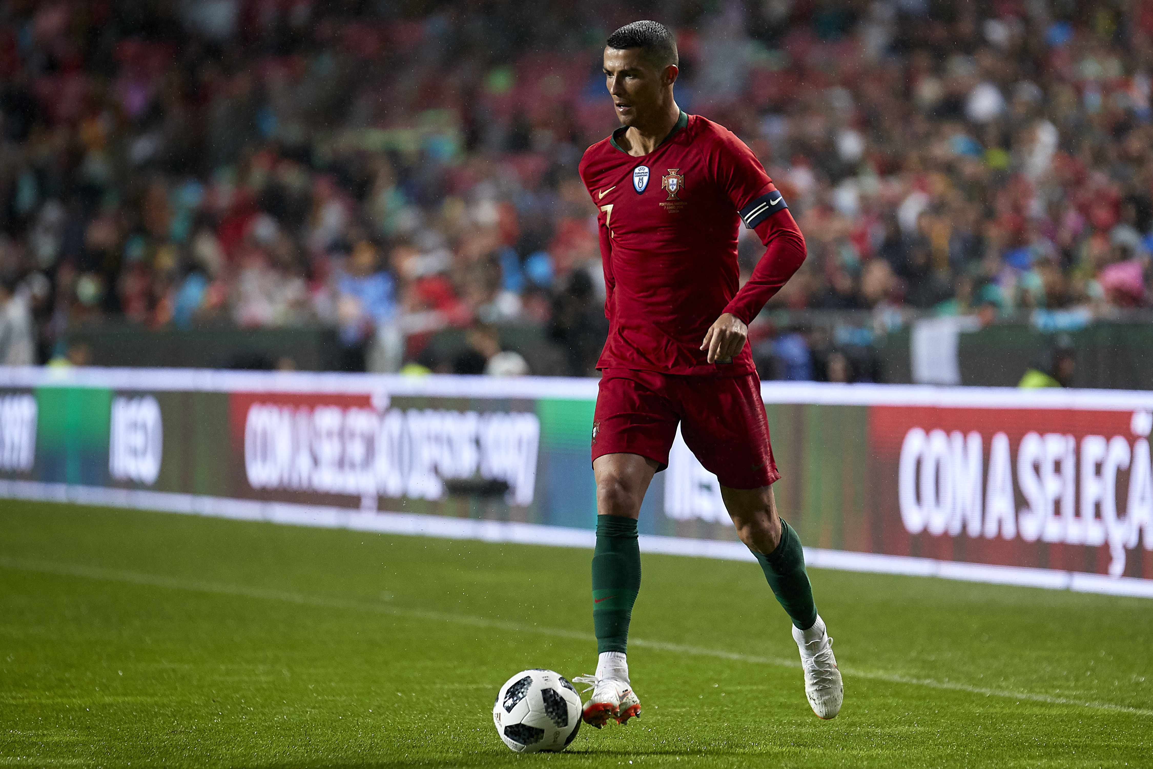 Cristiano Ronaldo of Portugal in action during the friendly match of preparation for FIFA 2018 World Cup between Portugal and Algeria at the Estadio do Sport Lisboa e Benfica on June 7, 2018 in Lisbon, Portugal.