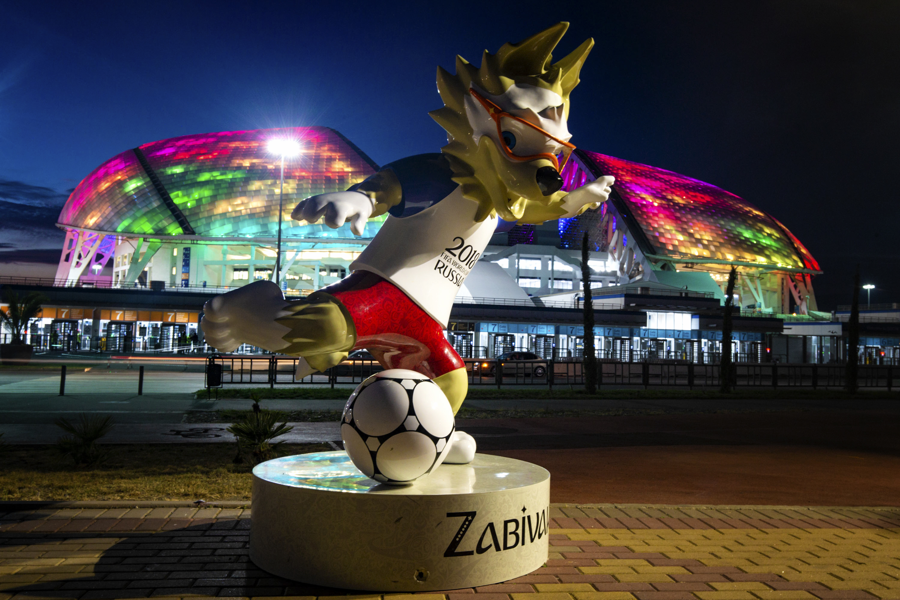 View of the Fisht Stadium and the statue of Zabivaka the Wolf, the official mascot of the 2018 FIFA World Cup prior to the start of the FIFA 2018 World Cup on June 9, 2018 in Sochi, Russia.