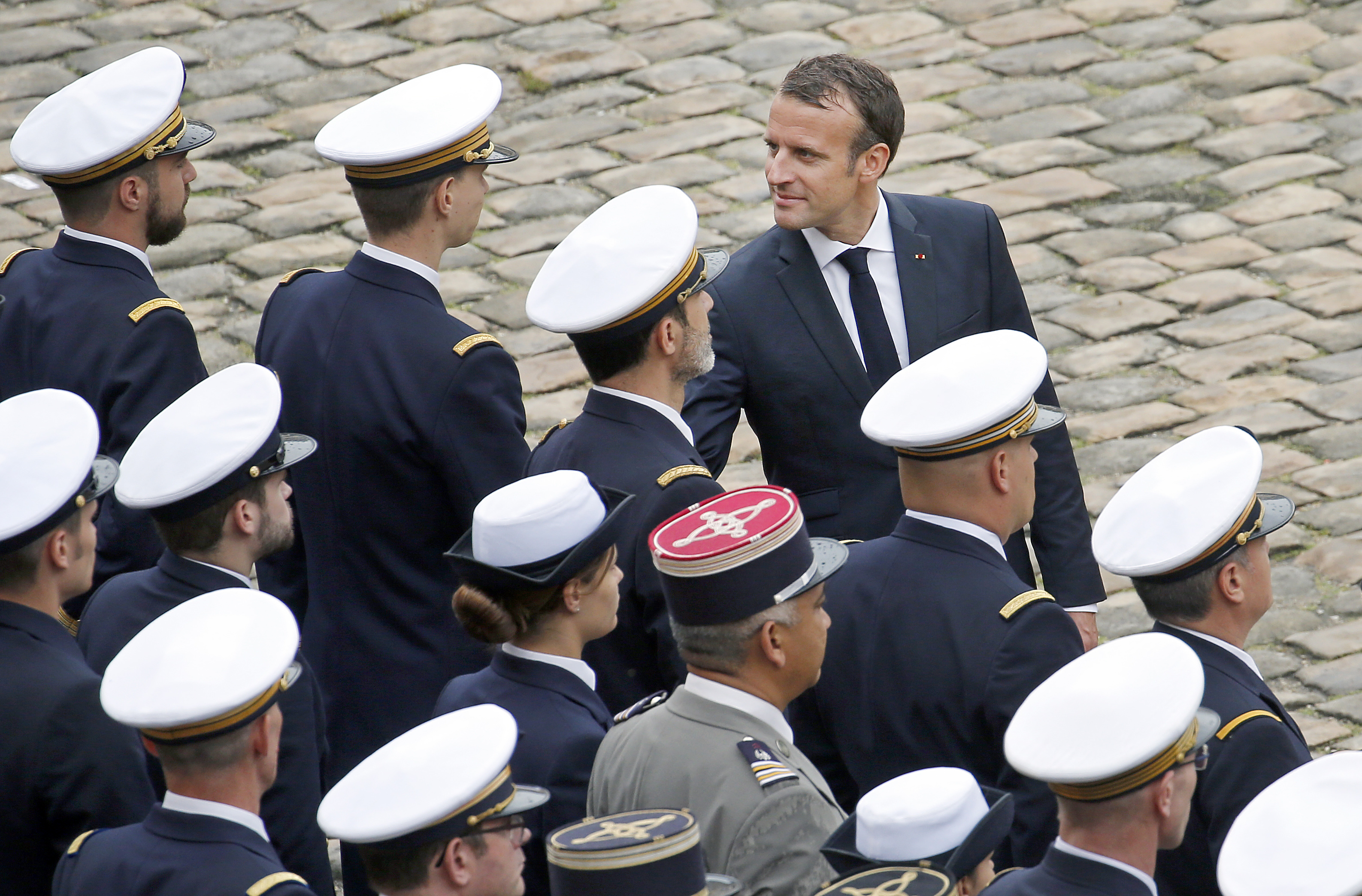 French President Emmanuel Macron attends the  prise d'armes  military ceremony on June 11, 2018 in Paris, France.