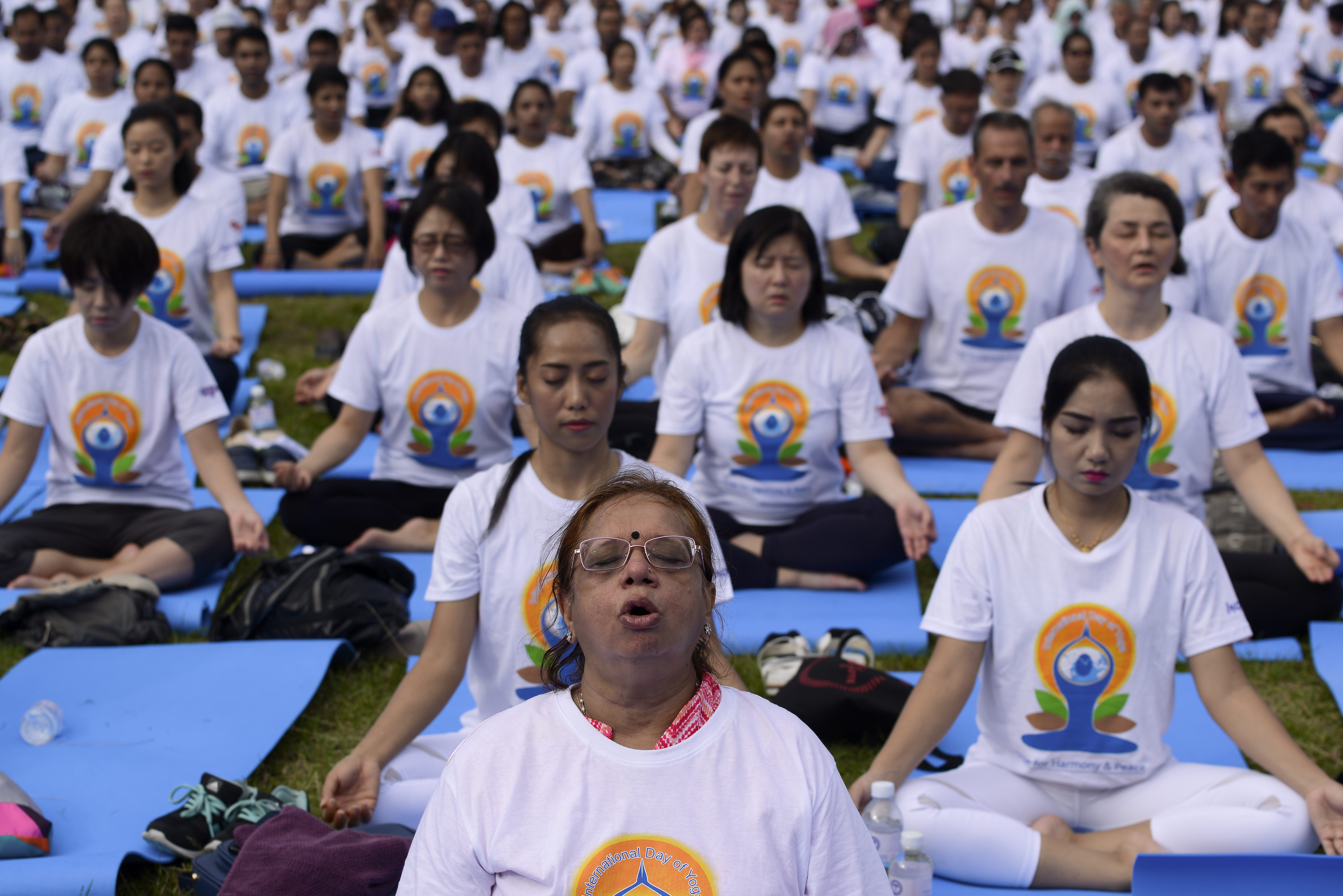 In the run up to the International Day of Yoga on June 21, thousands of people participate in a yoga exercise at Chulalongkorn University field in Bangkok, Thailand on June 17, 2018.