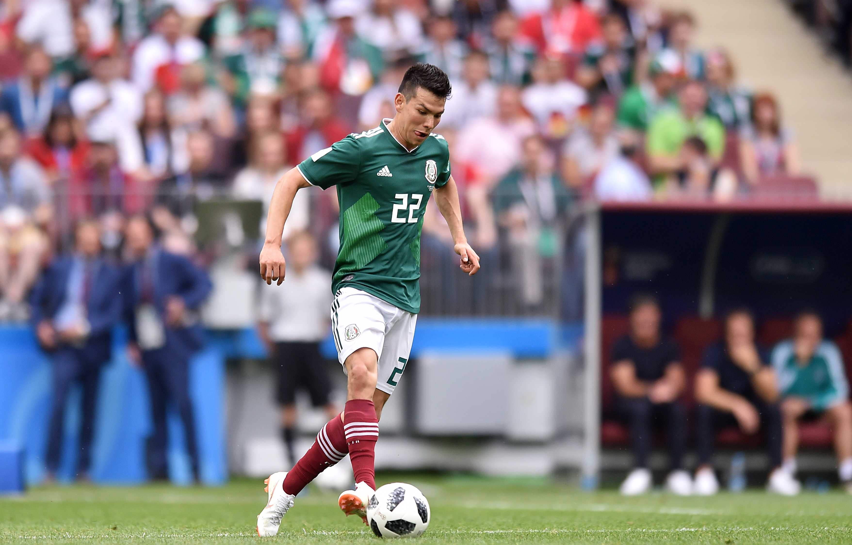 Hirving Lozano of Mexico in action during the 2018 FIFA World Cup Russia group F match between Germany and Mexico at Luzhniki Stadium on June 17, 2018 in Moscow, Russia.