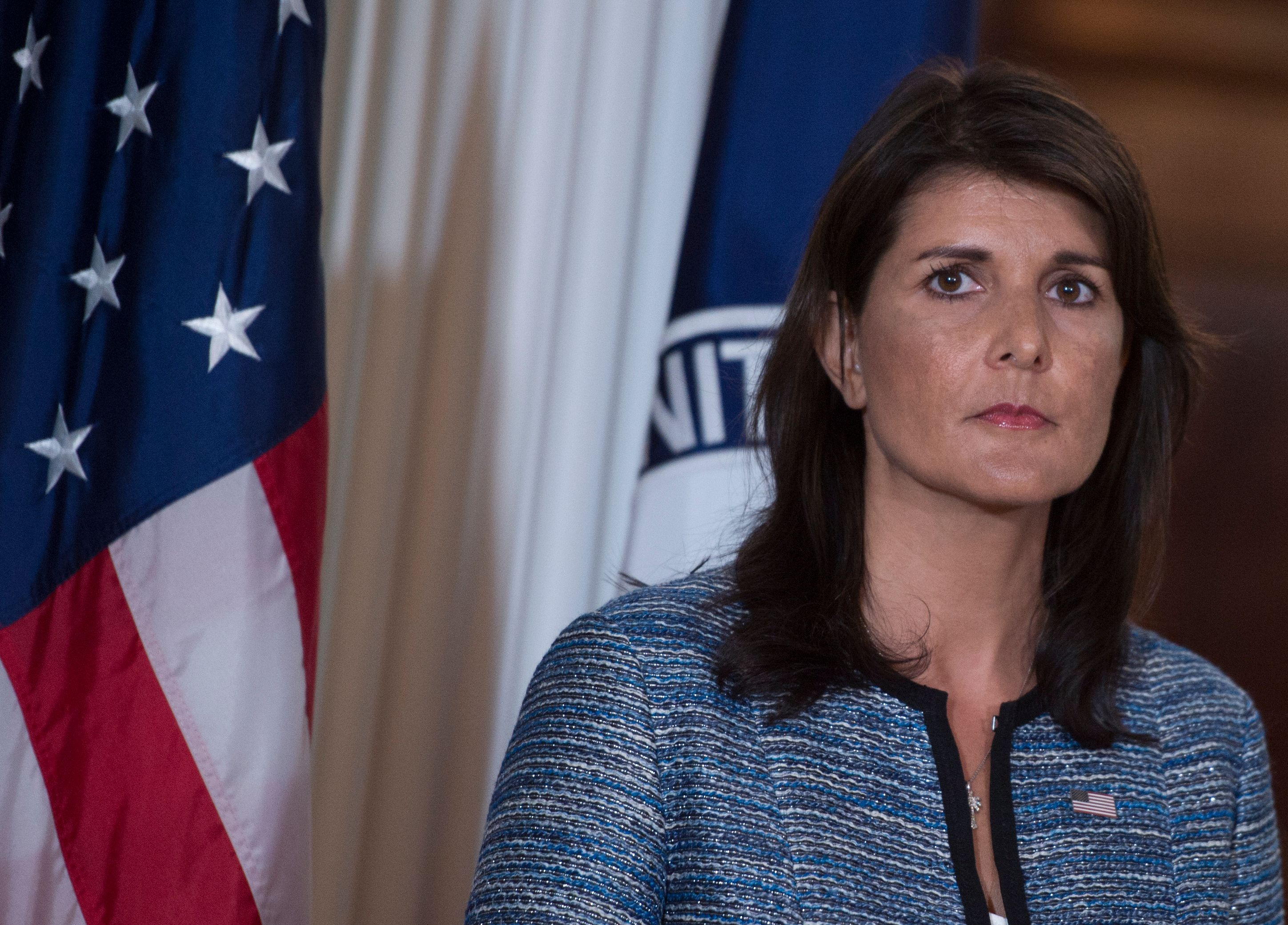 US Ambassador to the United Nation Nikki Haley speaks at the US Department of State in Washington DC on June 19, 2018. The United States announced that it is withdrawing from the U.N. Human Rights Council.