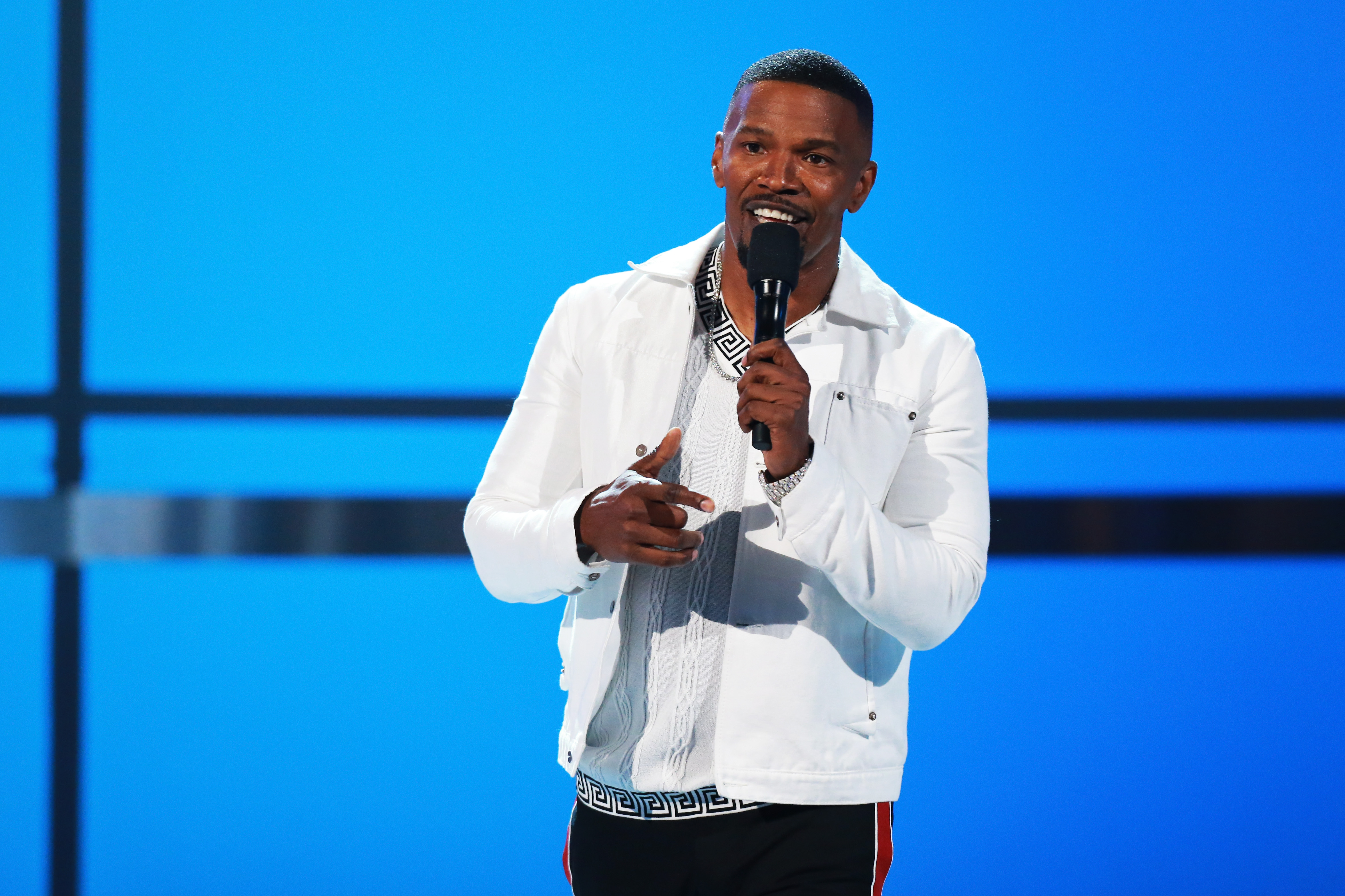 Host Jamie Foxx speaks onstage at the 2018 BET Awards at Microsoft Theater in Los Angeles, California on June 24, 2018.