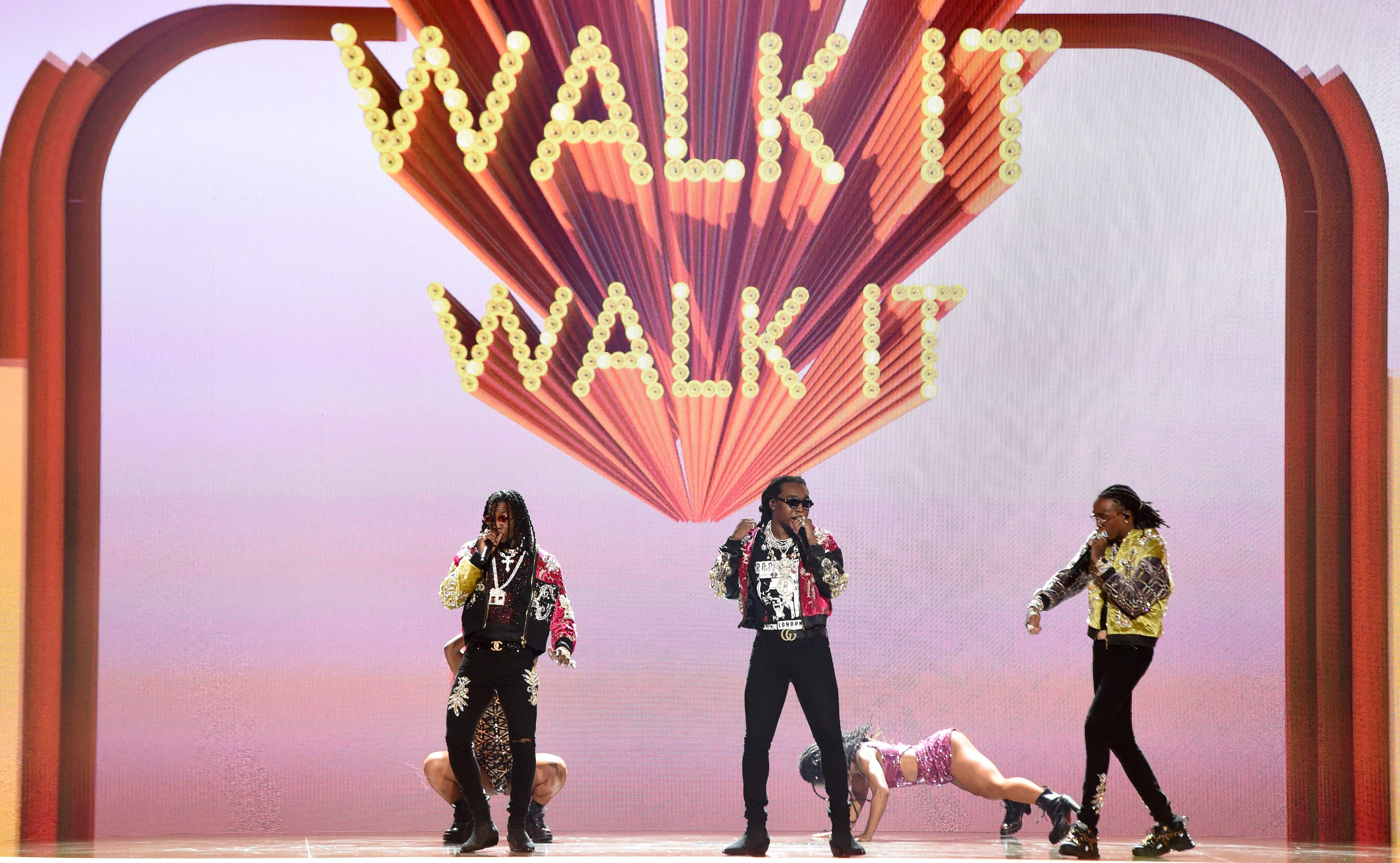 Quavo, Offset, and Takeoff of Migos perform onstage during the BET Awards at Microsoft Theatre in Los Angeles, Calif., on June 24, 2018.