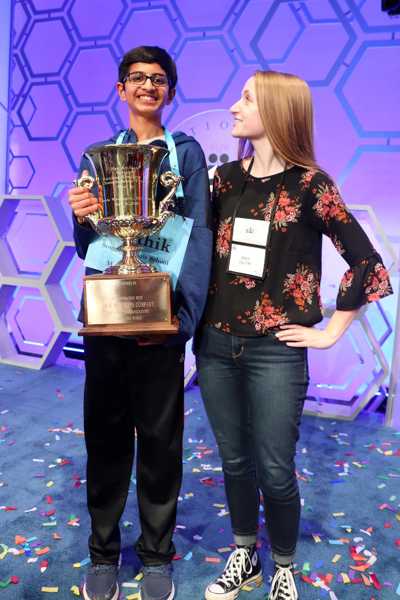 Scripps National Spelling Bee winner Karthik Nemmani with his coach, Grace Walters
