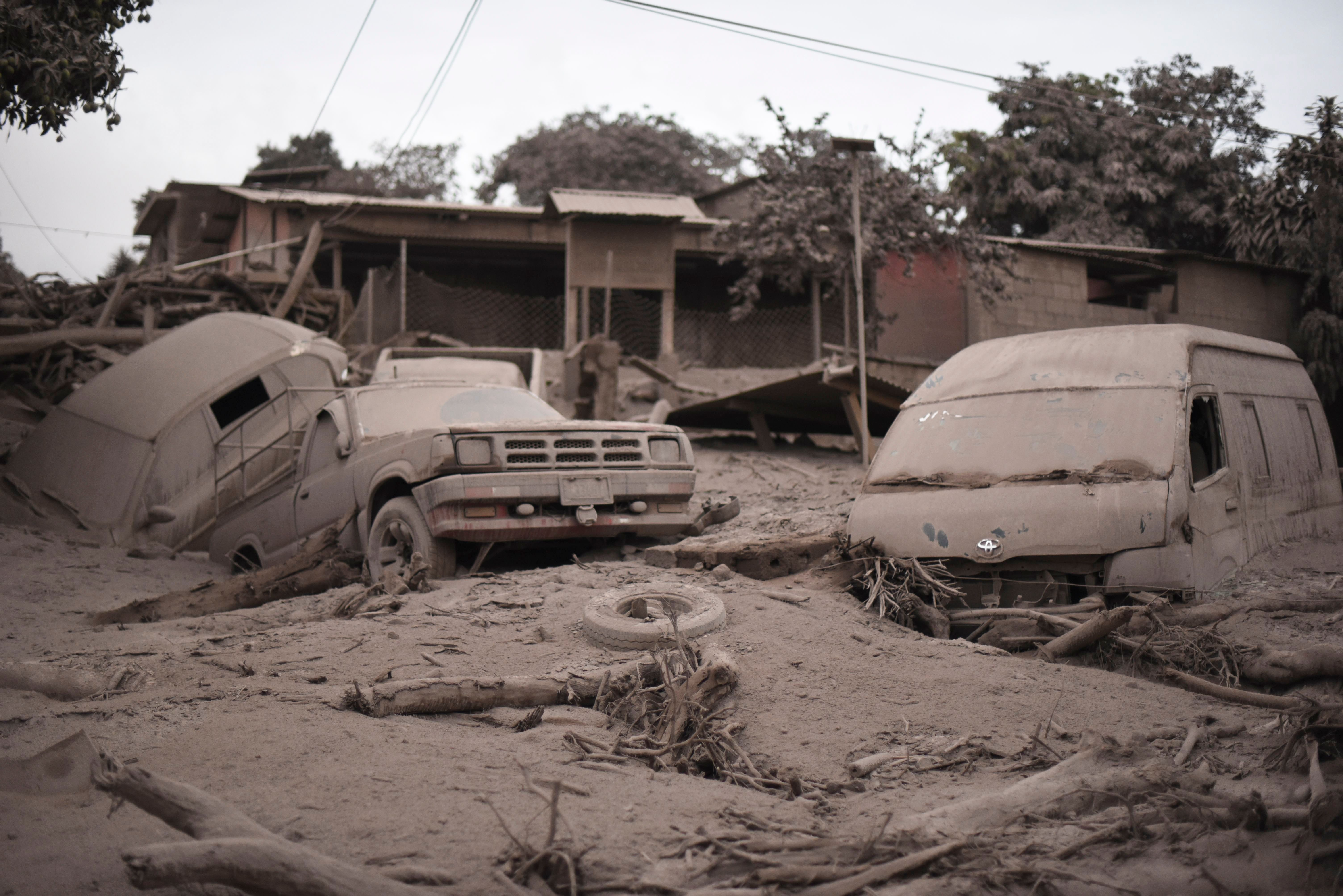 View of the damage casued by the eruption of the Fuego Volcano in San Miguel Los Lotes, a village in Escuintla Department, about 35 km southwest of Guatemala City, on June 4, 2018.