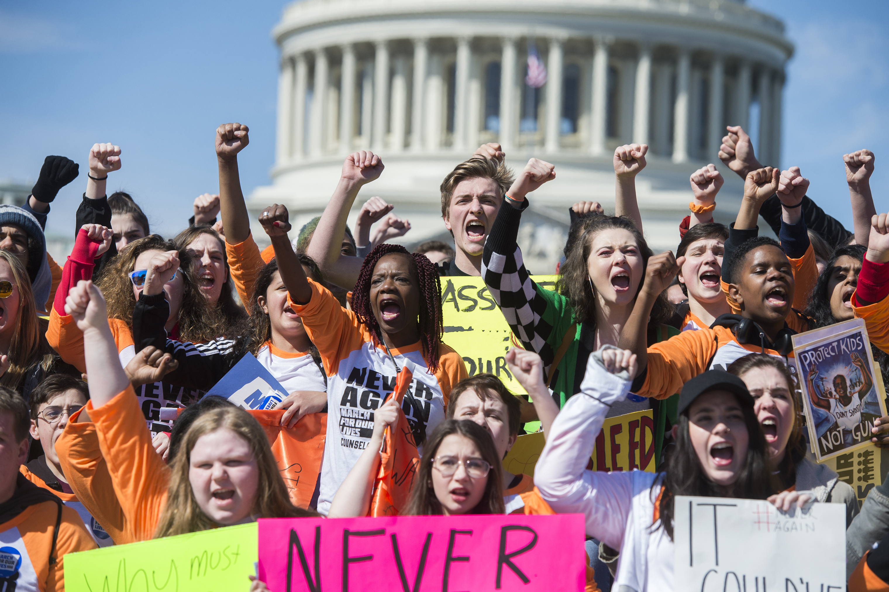 A group from Pittsburgh gathers on the East Front of the Capitol before joining the student-led March for Our Lives rally on Pennsylvania Avenue to call for action to prevent gun violence on March 24, 2018.
