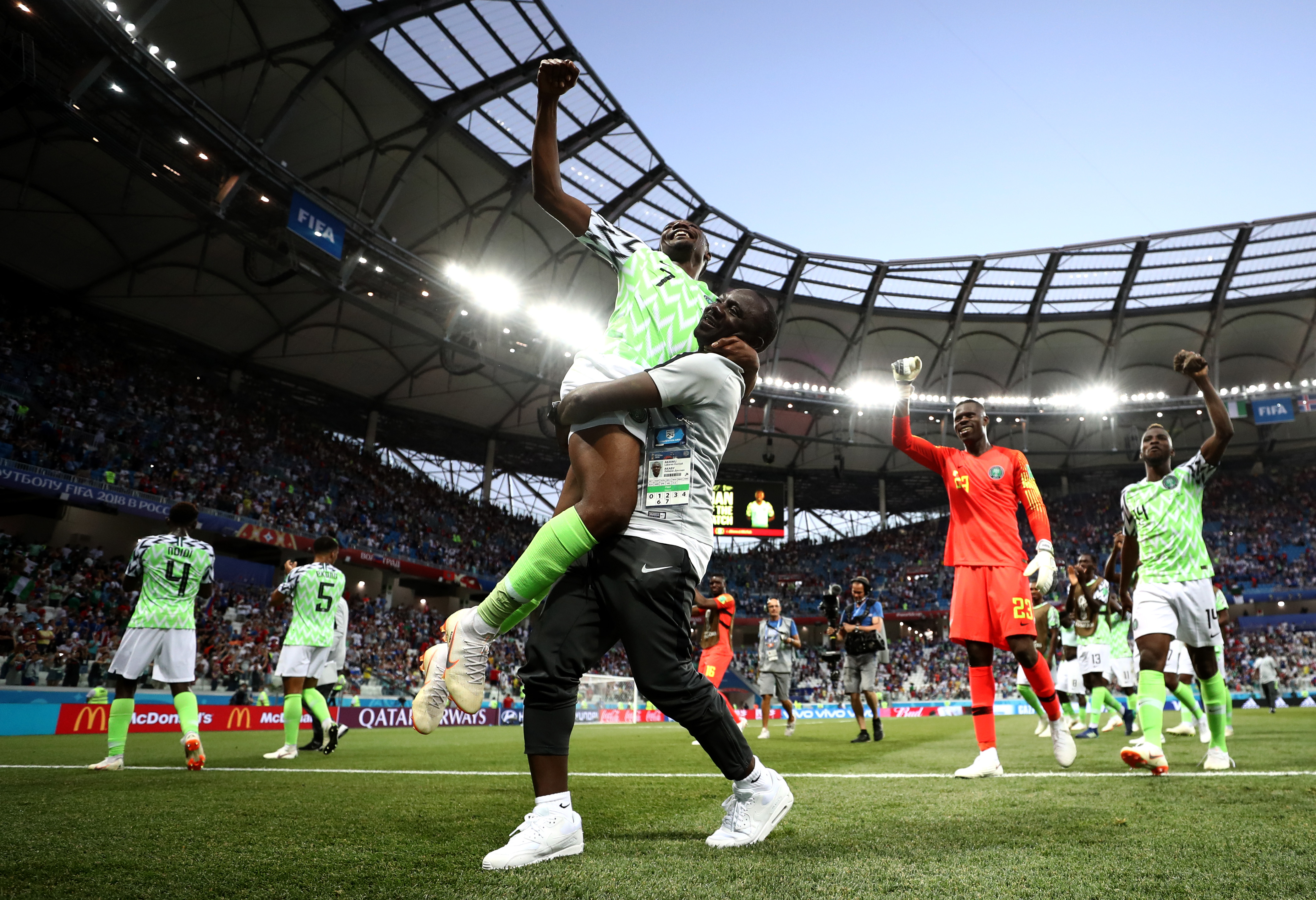 Ahmed Musa of Nigeria celebrates victory with teammates following the 2018 FIFA World Cup Russia group D match between Nigeria and Iceland at Volgograd Arena on June 22, 2018 in Volgograd, Russia.