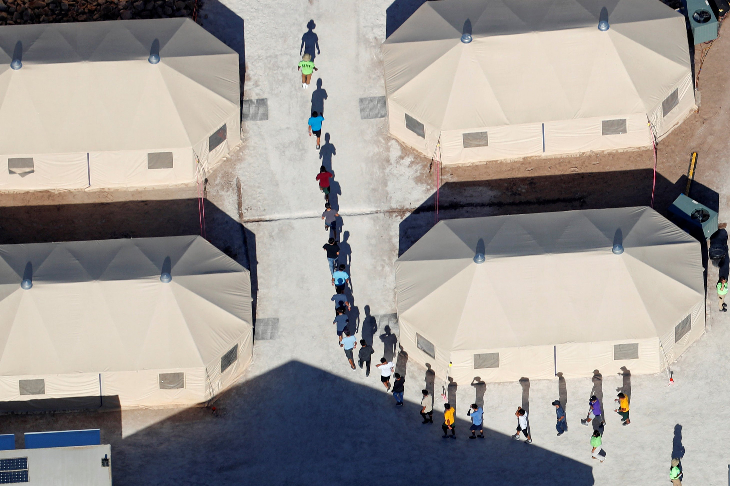 Immigrant children in custody in Tornillo, Texas, on June 18
