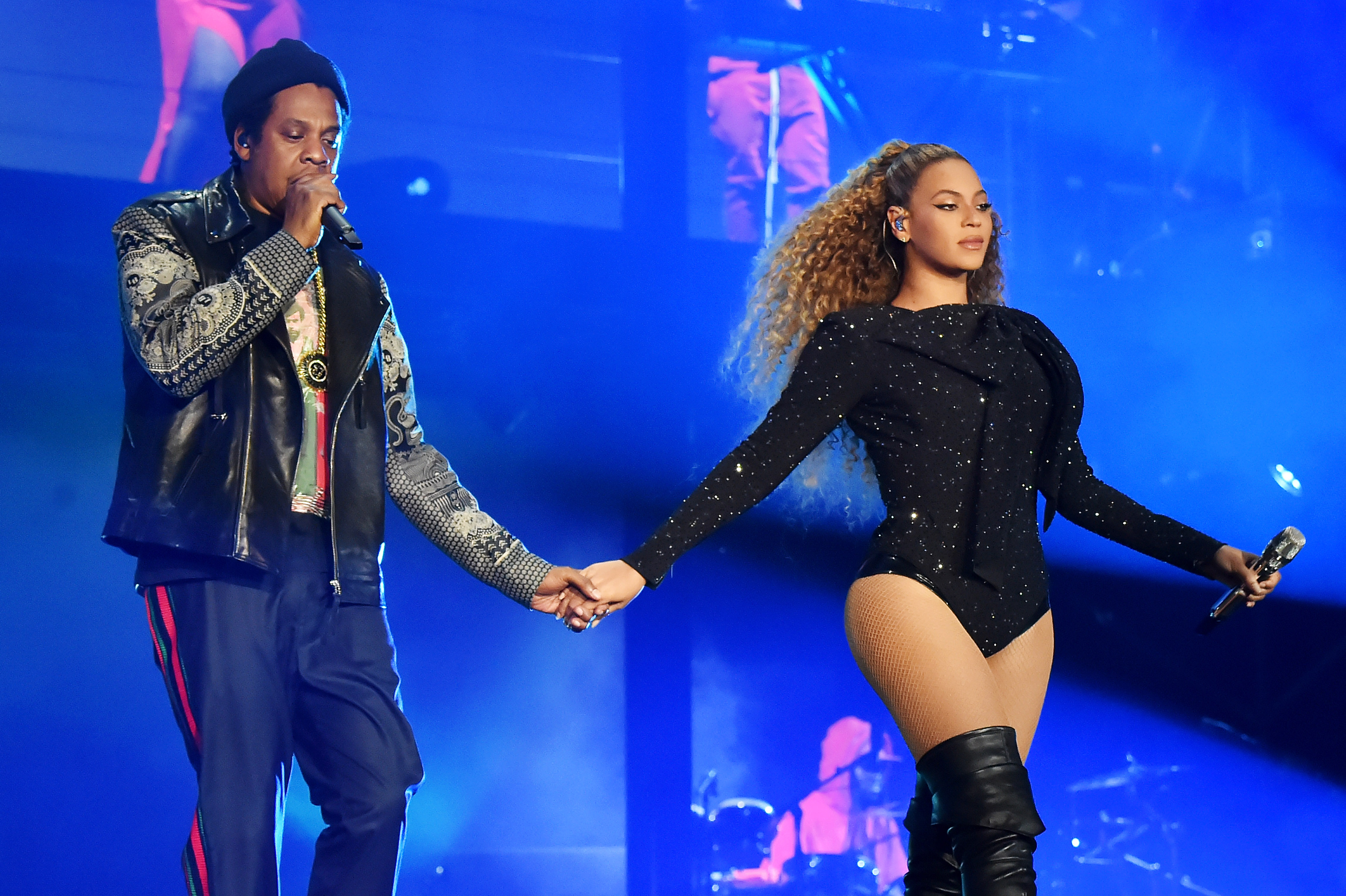ay-Z and Beyonce Knowles perform on stage during the  On the Run II  tour opener at Principality Stadium on June 6, 2018 in Cardiff, Wales.