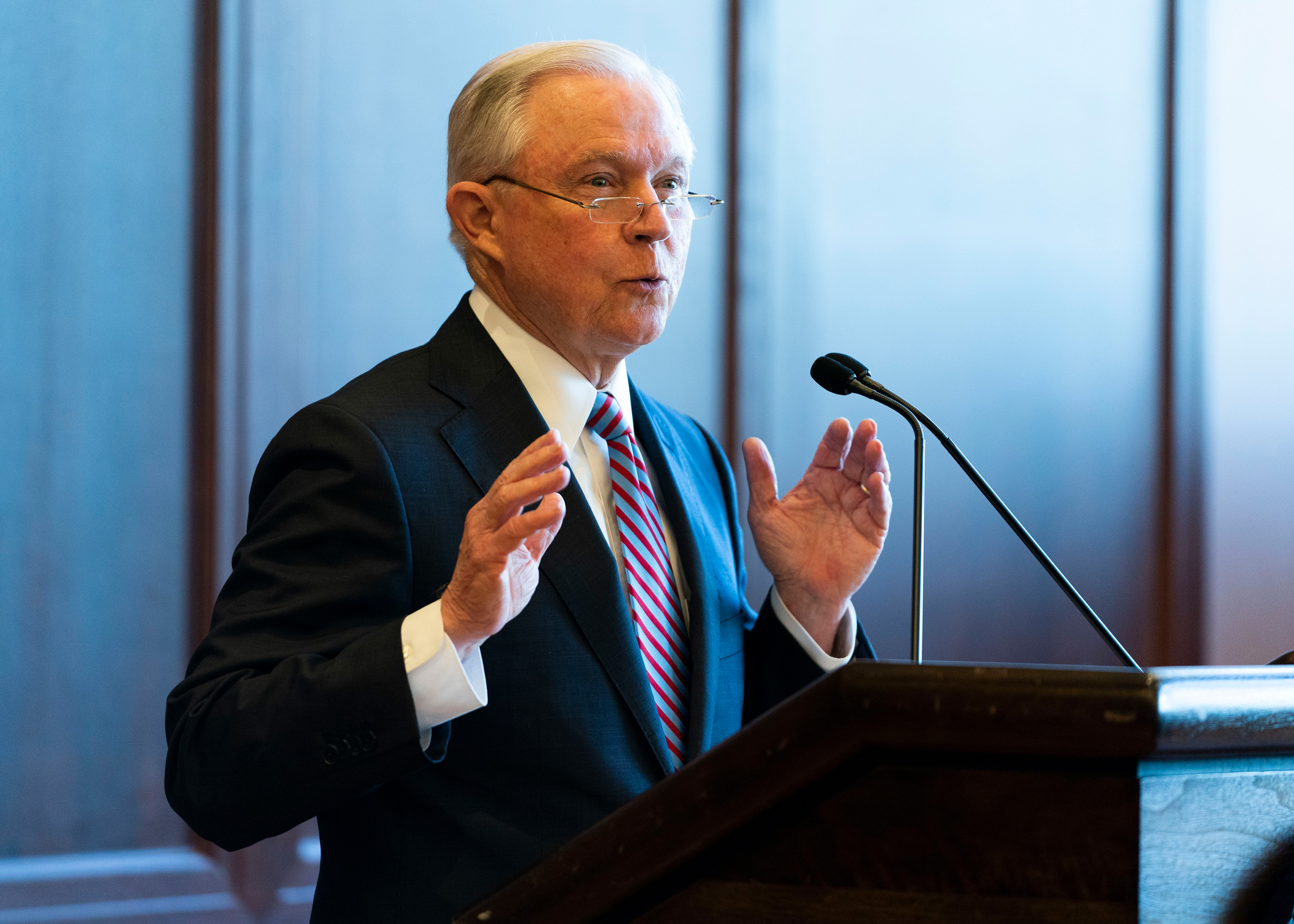 U.S. Attorney General Jeff Sessions delivers remarks on immigration and law enforcement actions on June 15, 2018 in Scranton, Penn.