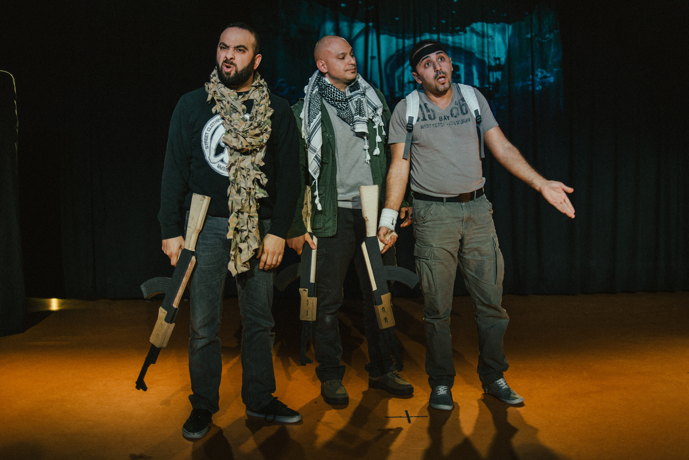 From left: Ismael Saidi, Shark Carrera and Reda Chebchoubi in Saidi's play  Jihad  in Villiers-le-Bel, outside Paris, on Feb. 15, 2017.