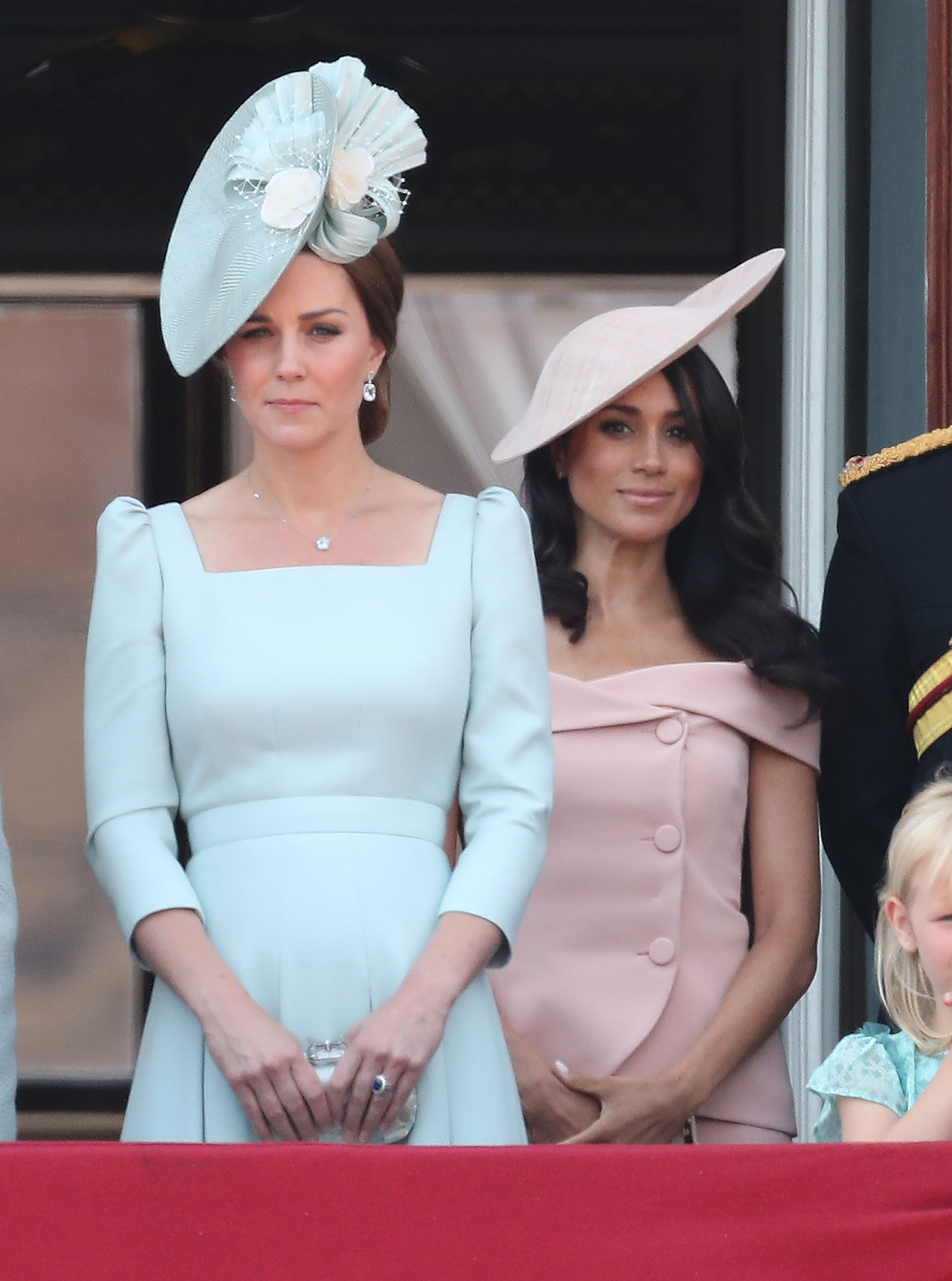 Kate Middleton, the Duchess of Cambridge, and Meghan Markle, Duchess of Sussex, on the balcony of Buckingham Palace during Trooping The Colour on June 9, 2018 in London, England