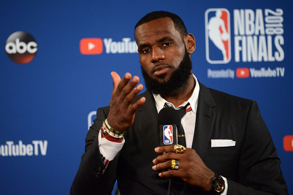 LeBron James of the Cleveland Cavaliers talks to the media after the game against the Golden State Warriors in Game One of the 2018 NBA Finals on May 31, 2018 at ORACLE Arena in Oakland, California.