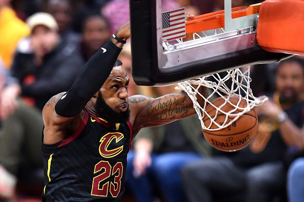 LeBron James of the Cleveland Cavaliers dunks against the Golden State Warriors during Game 3 of the 2018 NBA Finals at Quicken Loans Arena on June 6, 2018 in Cleveland, Ohio.