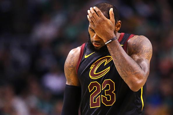 LeBron James of the Cleveland Cavaliers looks on during Game 7 of the 2018 NBA Eastern Conference Finals against the Boston Celtics at TD Garden on May 27, 2018 in Boston, Massachusetts.