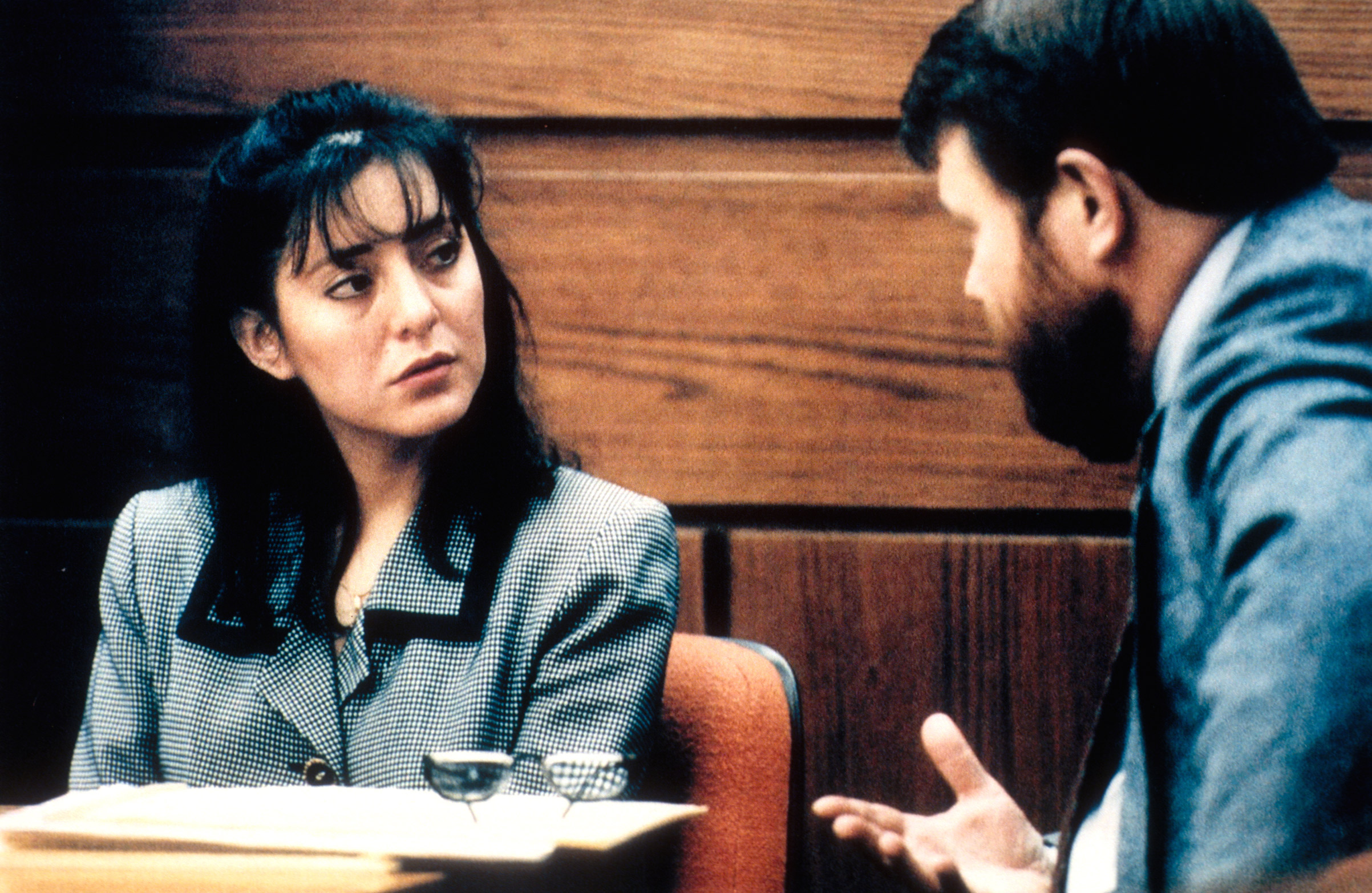 Lorena Bobbitt is questioned by an attorney during her trial 	on Jan. 10, 1994, where she is charged with 'malicious wounding' after cutting off her husband's penis following an alleged rape.