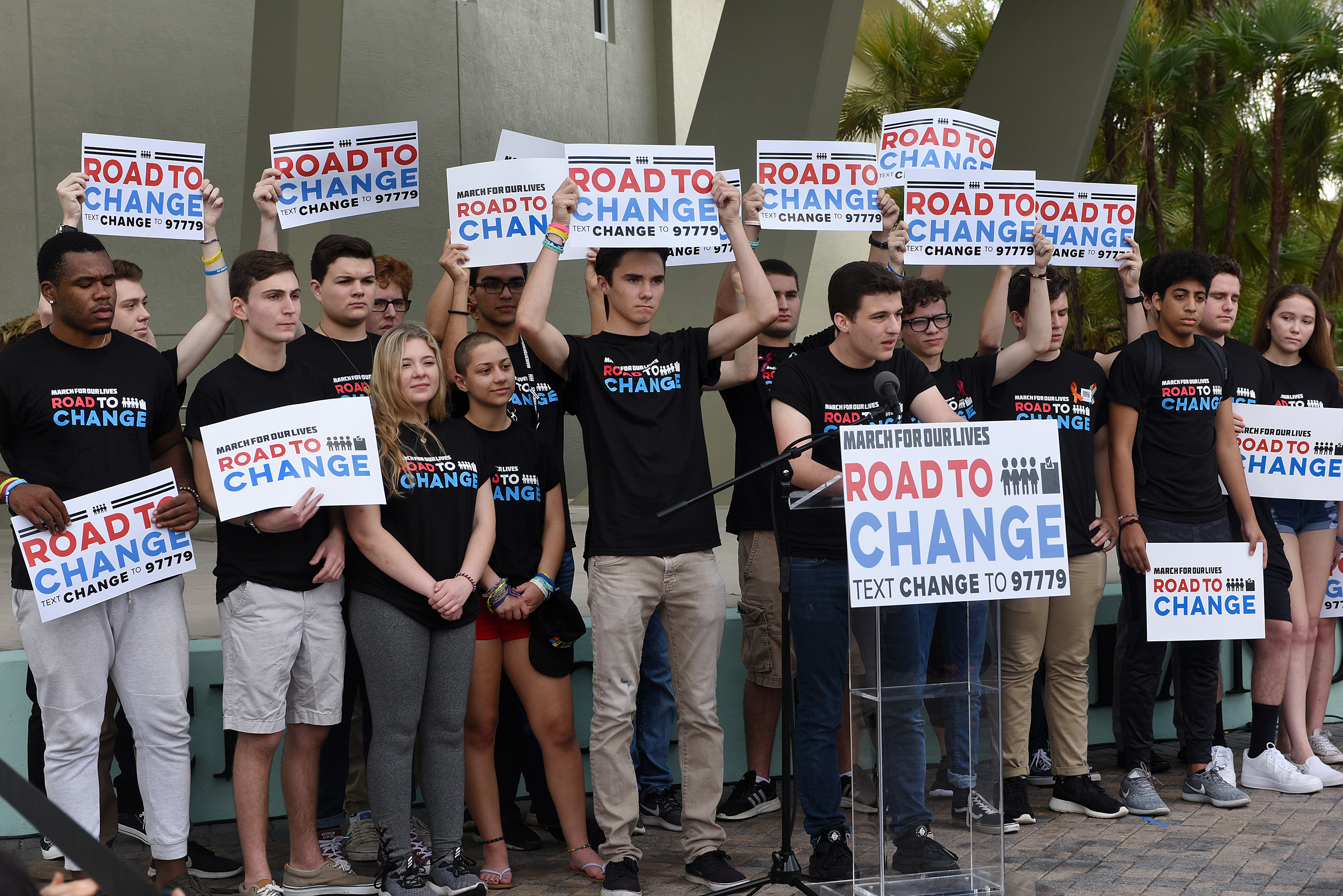 Marjory Stoneman Douglas students hold a press conference on June 4, 2018 in Parkland, Fla. to announce that the students of March For Our Lives would make stops across America to get young people educated, registered and motivated to vote.