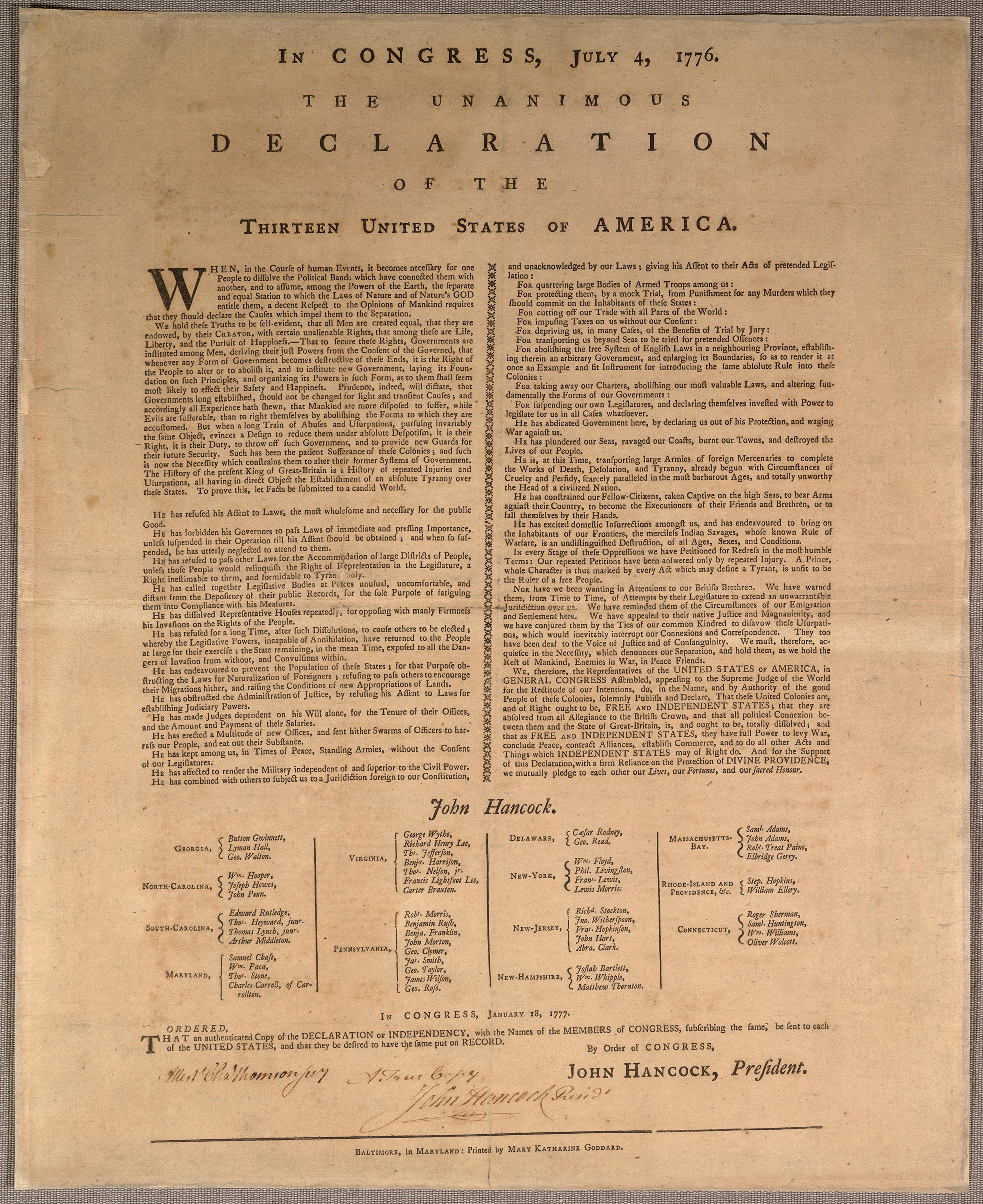 The copy of the Declaration of Independence, printed for preservation purposes in Jan. 1777 by Baltimore postmaster and newspaper publisher Mary Katherine Goddard.
