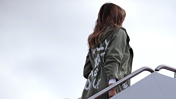 U.S. first lady Melania Trump boards an Air Force plane before traveling to Texas to visit facilities that house and care for children taken from their parents at the U.S.-Mexico border June 21, 2018 at Joint Base Andrews, Maryland.