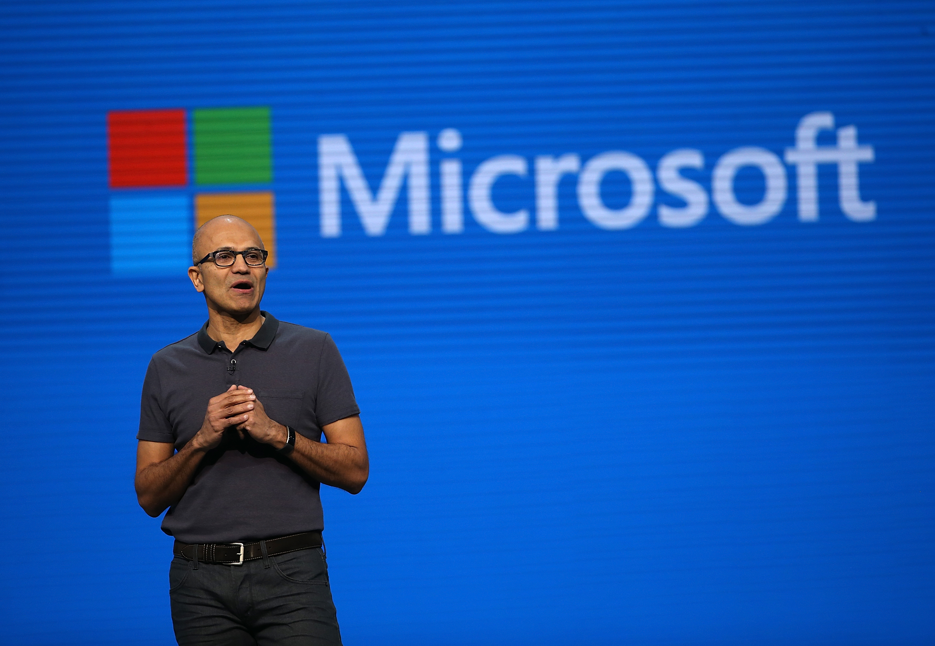 Microsoft CEO Satya Nadella during the  Microsoft Build Developer Conference on March 30, 2016 in San Francisco