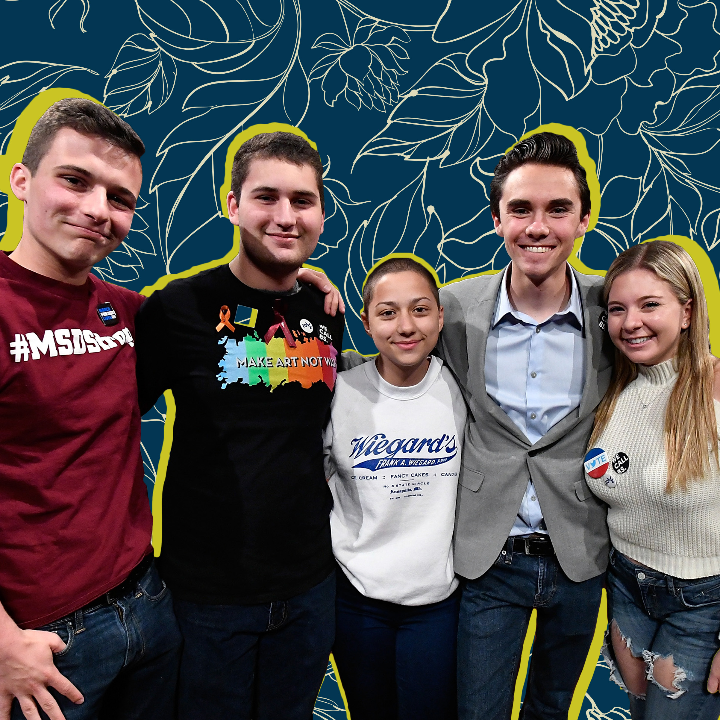 Parkland, Fla., Marjory Stoneman Douglas High School Students and activists (L-R) Cameron Kasky, Alex Wind, Emma Gonzalez, David Hogg, and Jaclyn Corin