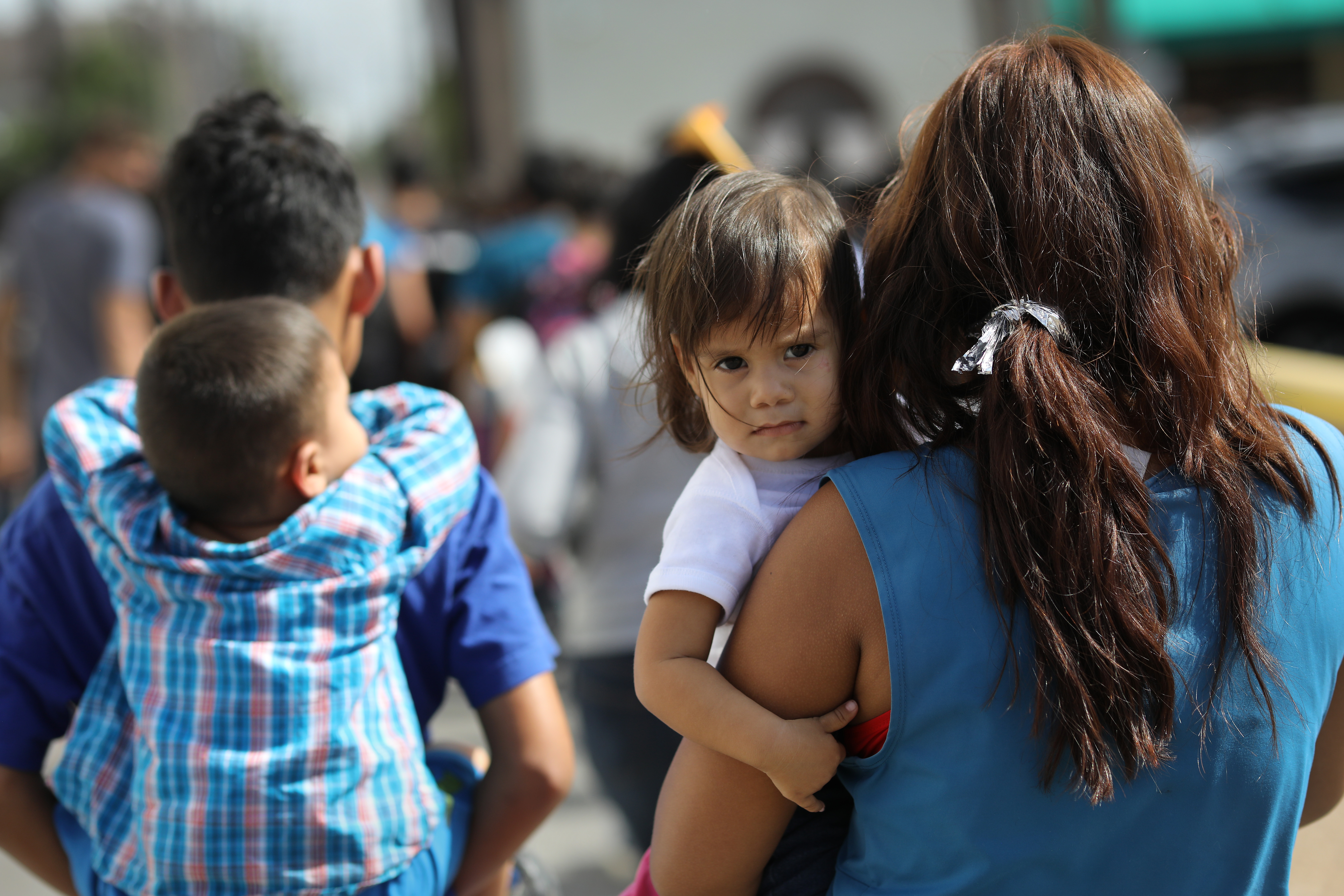 Central American immigrant families depart ICE custody, pending future immigration court hearings on June 11, 2018 in McAllen, Texas. Thousands of undocumented immigrants continue to cross into the U.S., despite the Trump administration's recent  zero tolerance  approach to immigration policy.