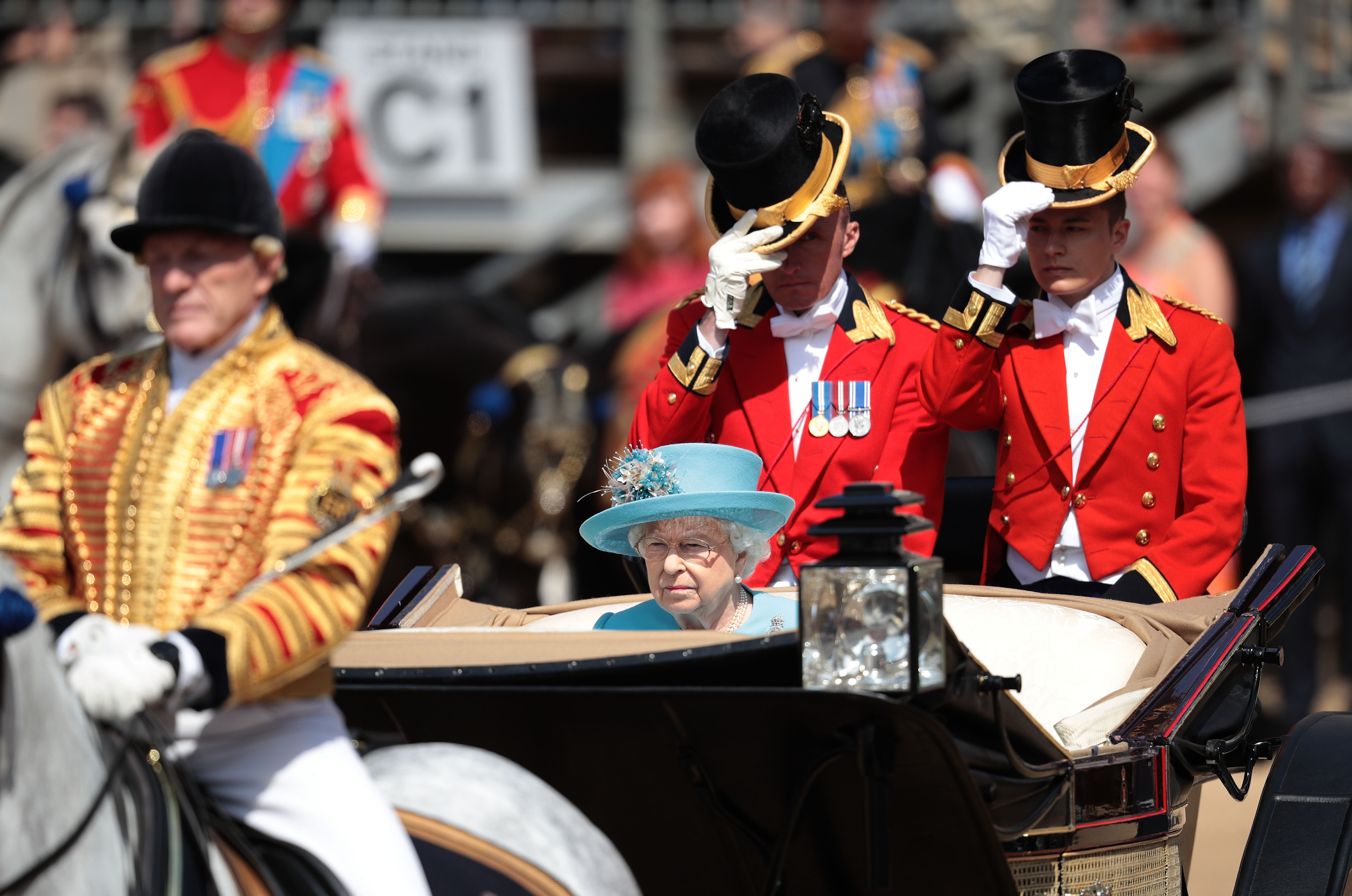 Queen Elizabeth II arrives at The Royal Horseguards during the Trooping The Colour ceremony on June 9, 2018 in London, England. The annual ceremony involving over 1,400 guardsmen and cavalry, is believed to have first been performed during the reign of King Charles II. The parade marks the official birthday of the Sovereign, even though the Queen's actual birthday is on April 21st