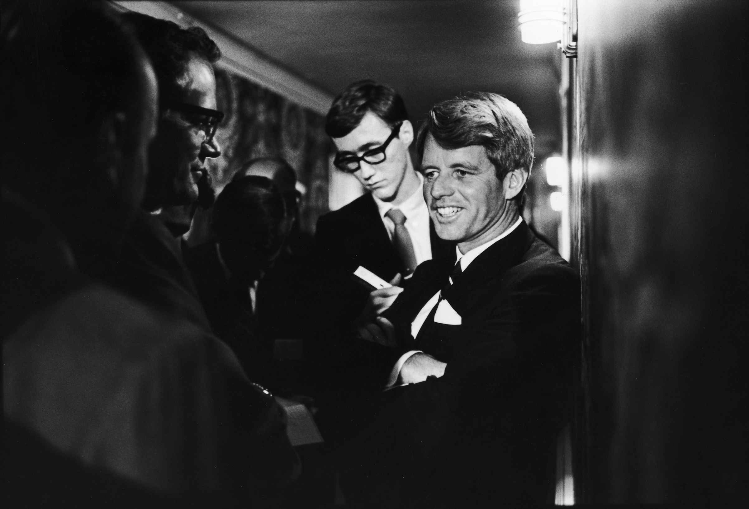 Robert Kennedy chats with reporters prior to his assassination at the Ambassador Hotel. Los Angeles, June 5, 1968