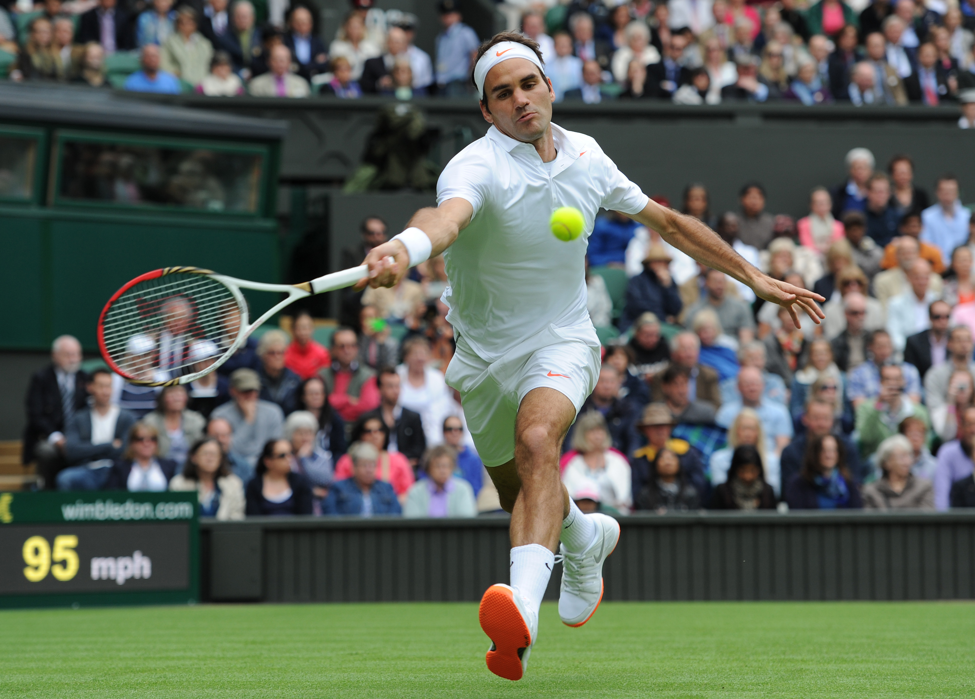 Roger Federer of Switzerland during his first round match against Victor Hanescu of Romania of on Day One of the 2013 Wimbledon Tennis Championships at the All England Lawn Tennis and Croquet Club in London, United Kingdom.