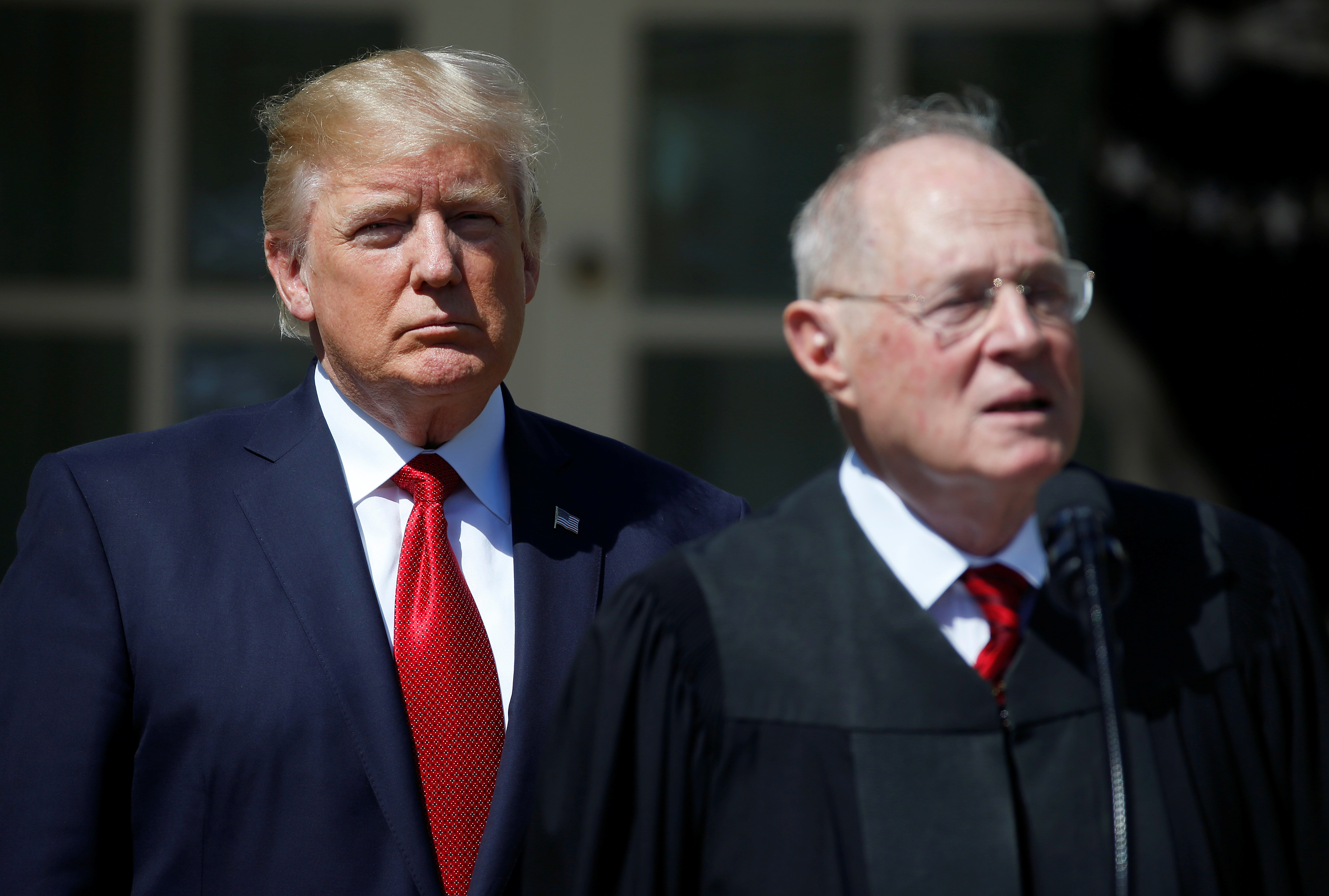 President Donald Trump and Justice Anthony Kennedy at the White House on April 10, 2017.
