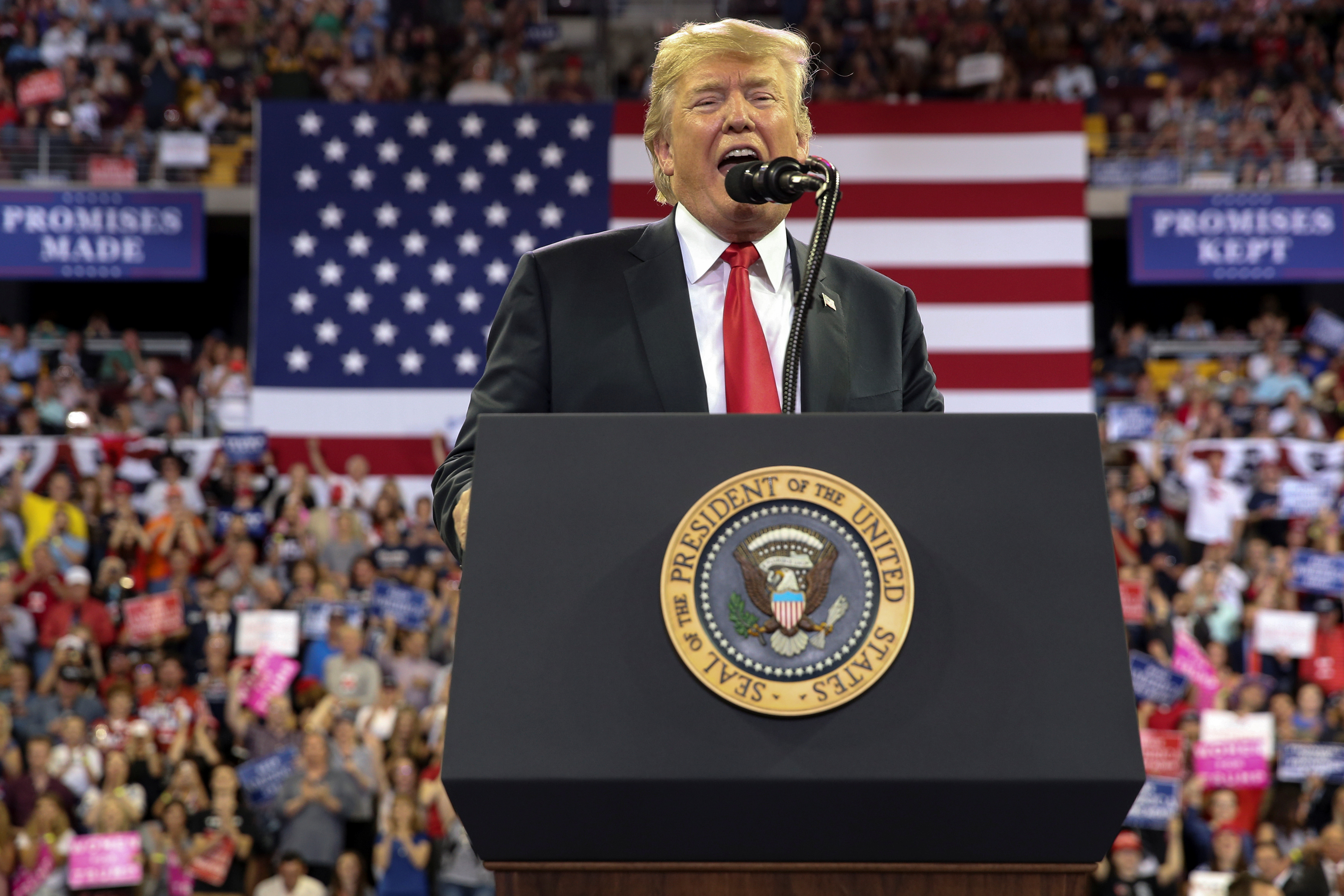 President Donald Trump at a rally with supporters in Duluth, Minnesota on June 20, 2018.