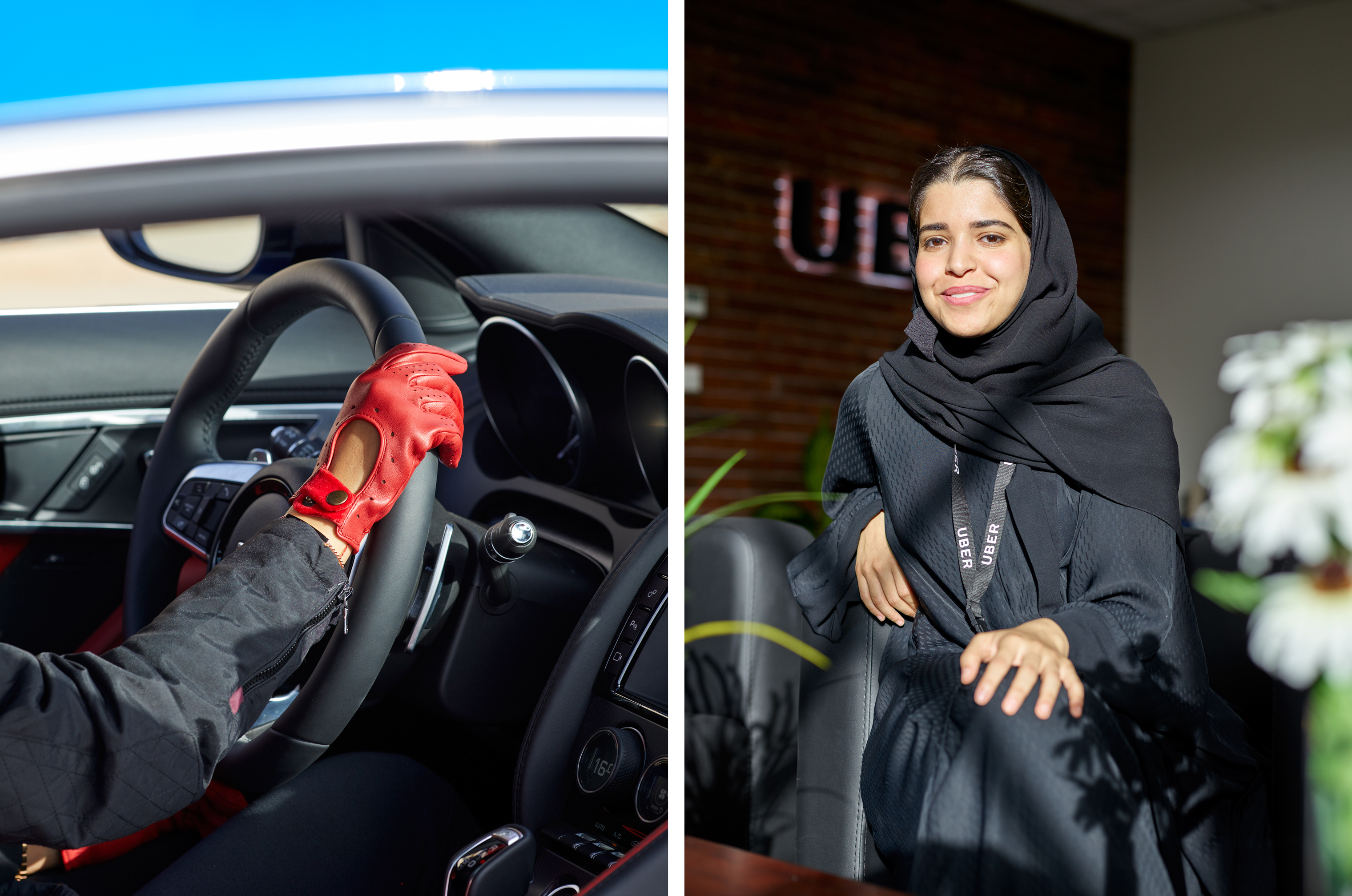 Behind the wheel with race-car driver Aseel al-Hamad; Ohoud al-Arifi, marketing manager for Uber Saudi Arabia.