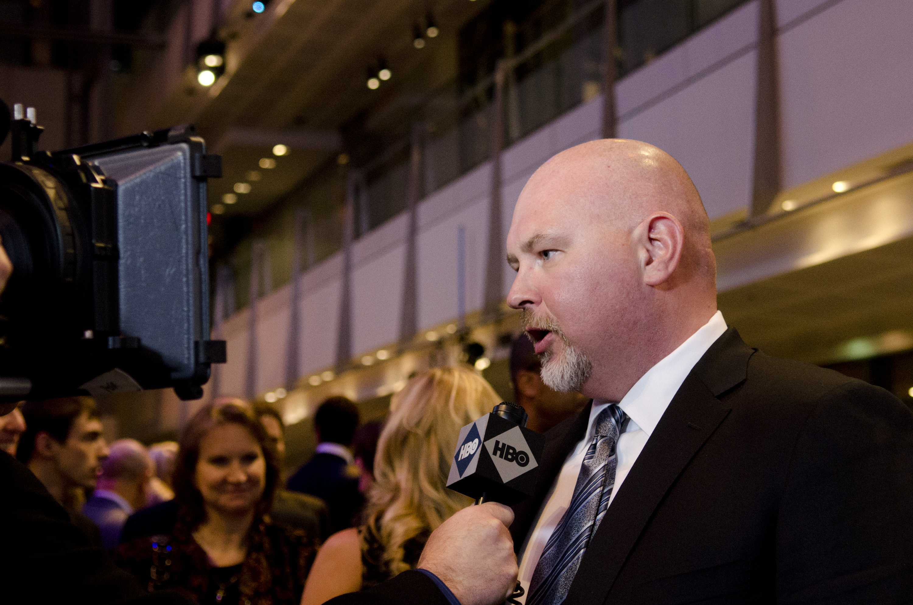 Steve Schmidt speaks with a reporter during the  Game Change  premiere at The Newseum on March 8, 2012 in Washington, DC.