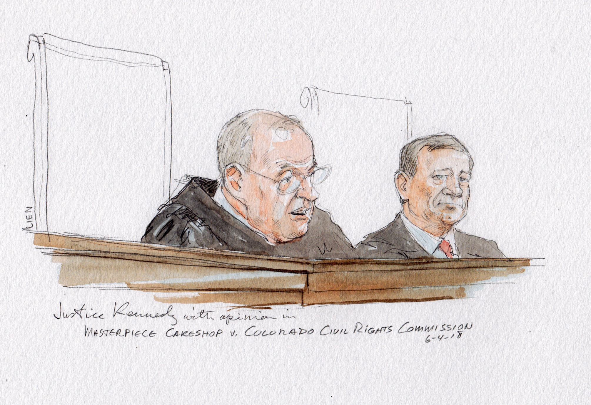 Arthur Lien's sketch of Justice Anthony Kennedy delivering the U.S. Supreme Court opinion in the Masterpiece Cakeshop case on Monday, June 4.