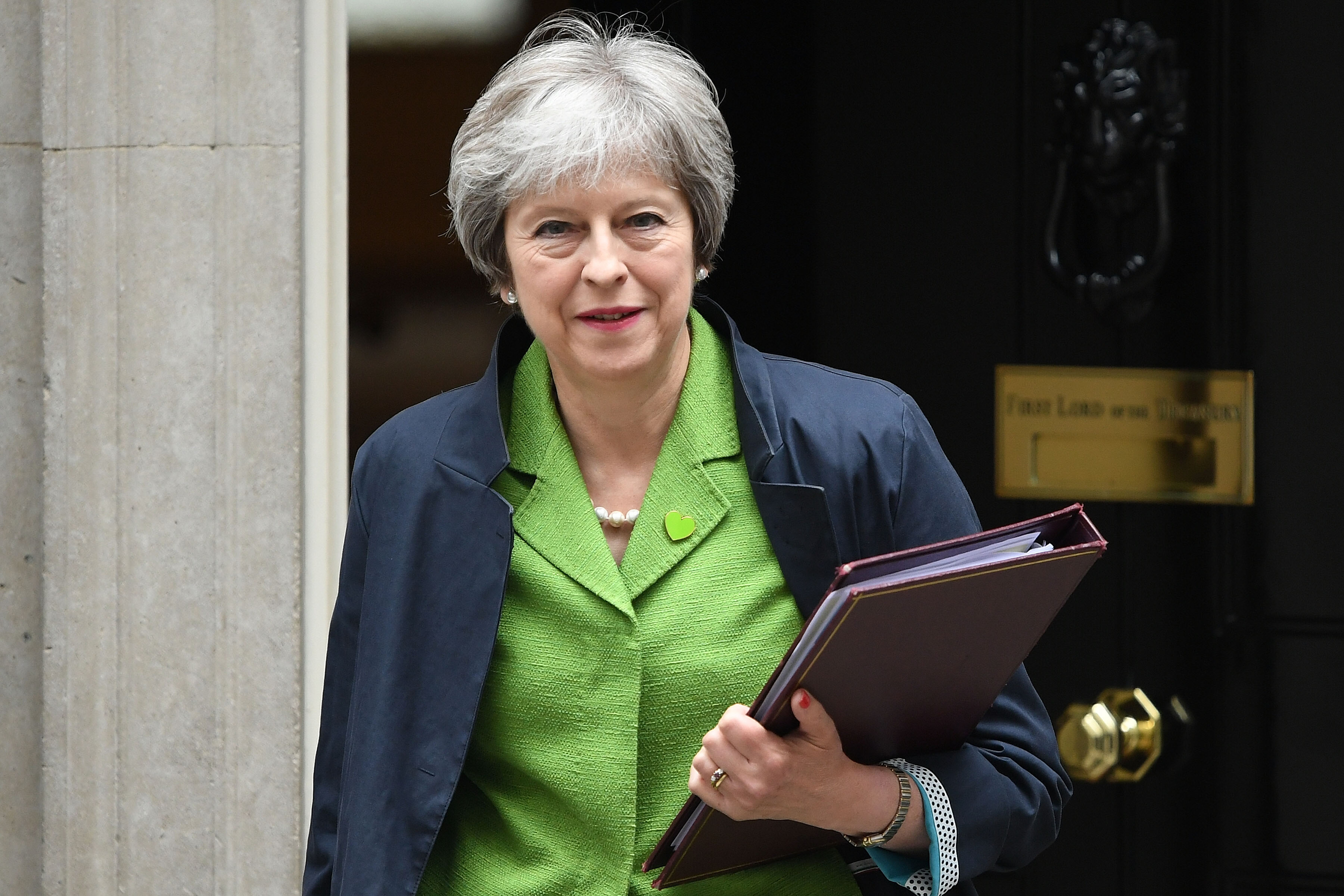 Prime Minister Theresa May leaves 10 Downing Street following a cabinet meeting on June 12, 2018 in London, England.