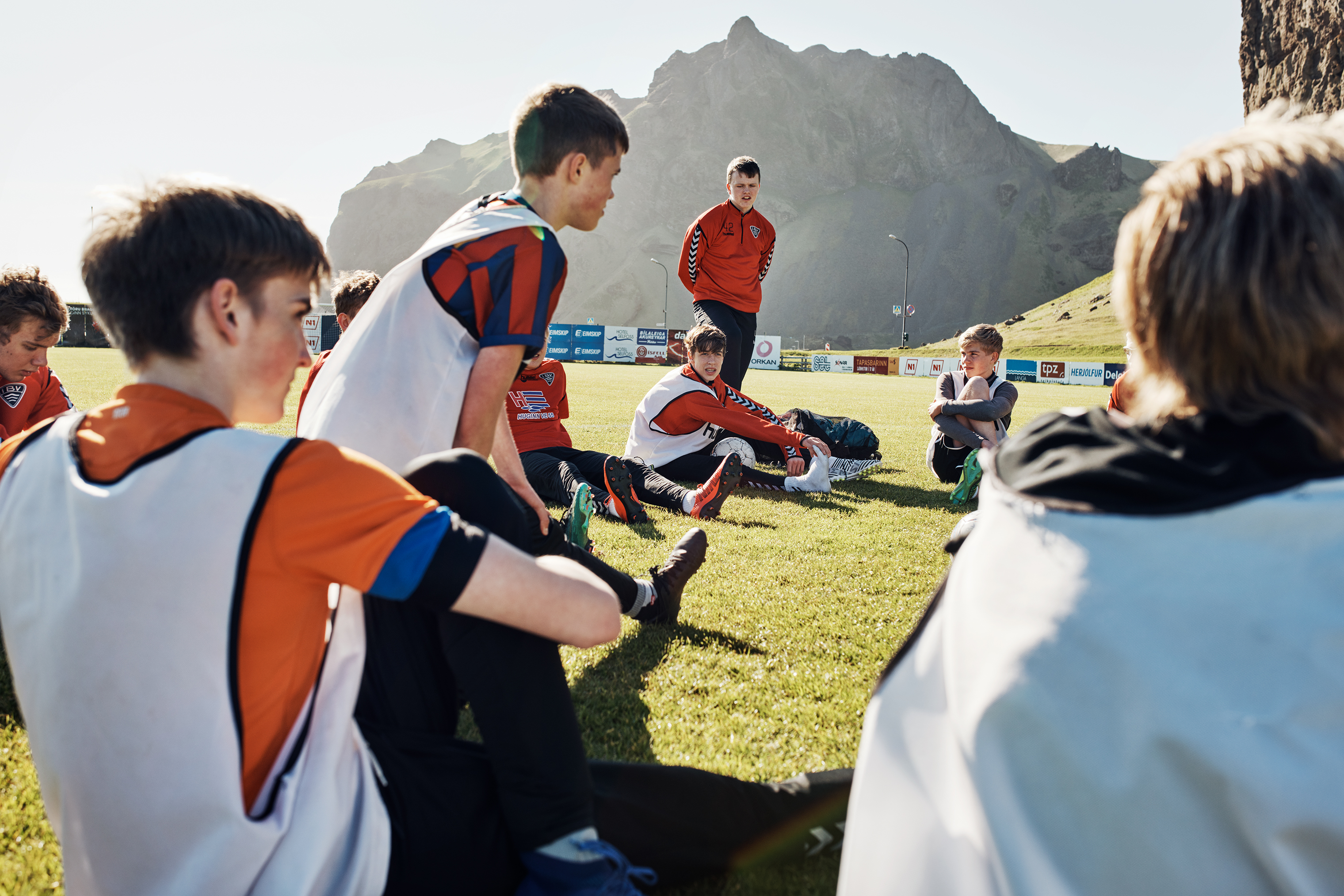 Boys rest after practice on Heimaey—or Home Island (pop. 4,500)—the largest in Iceland's Vestmannaeyjar archipelago, on June 1.