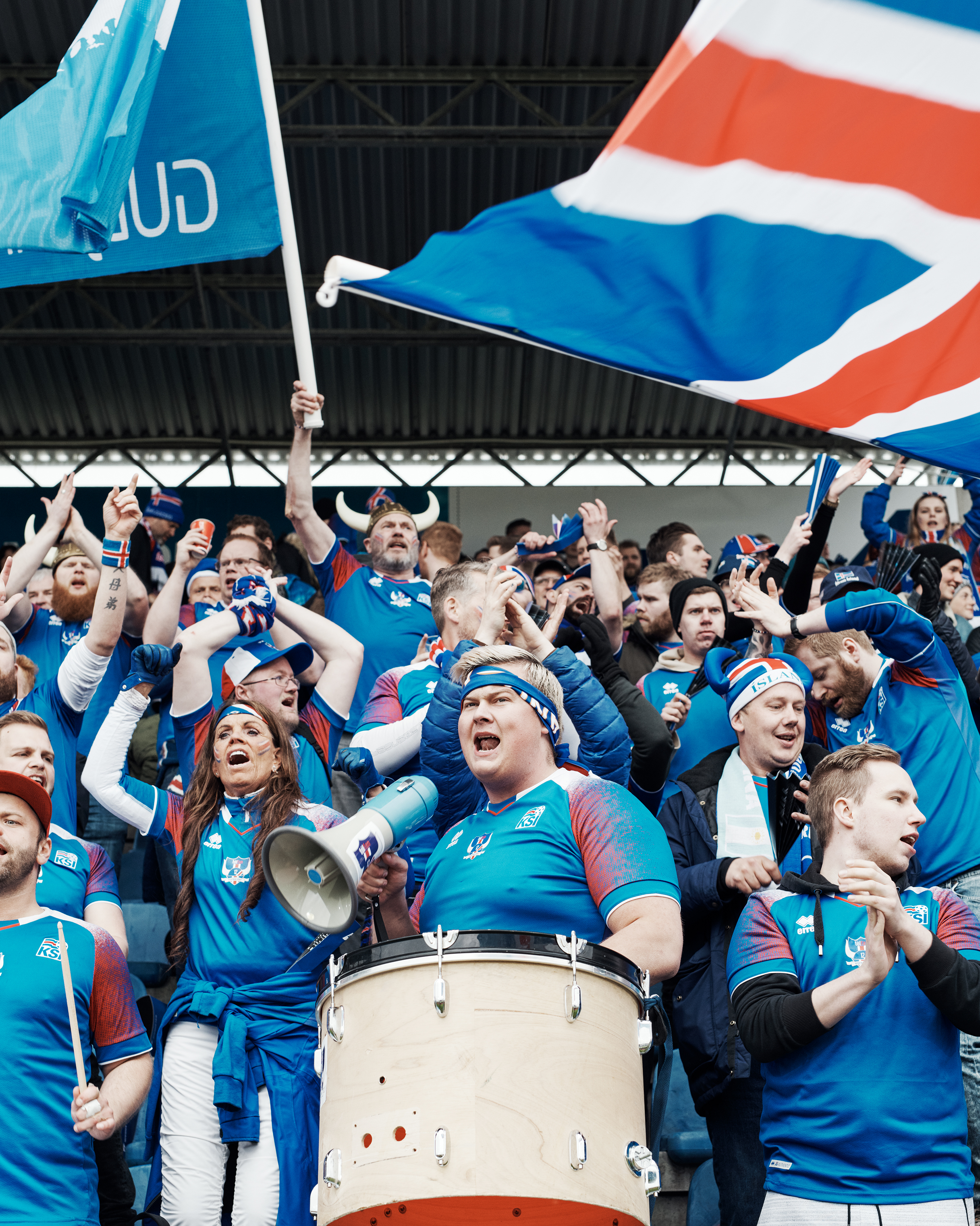 Members of Tólfan at the national stadium in Reykjavík on June 2.