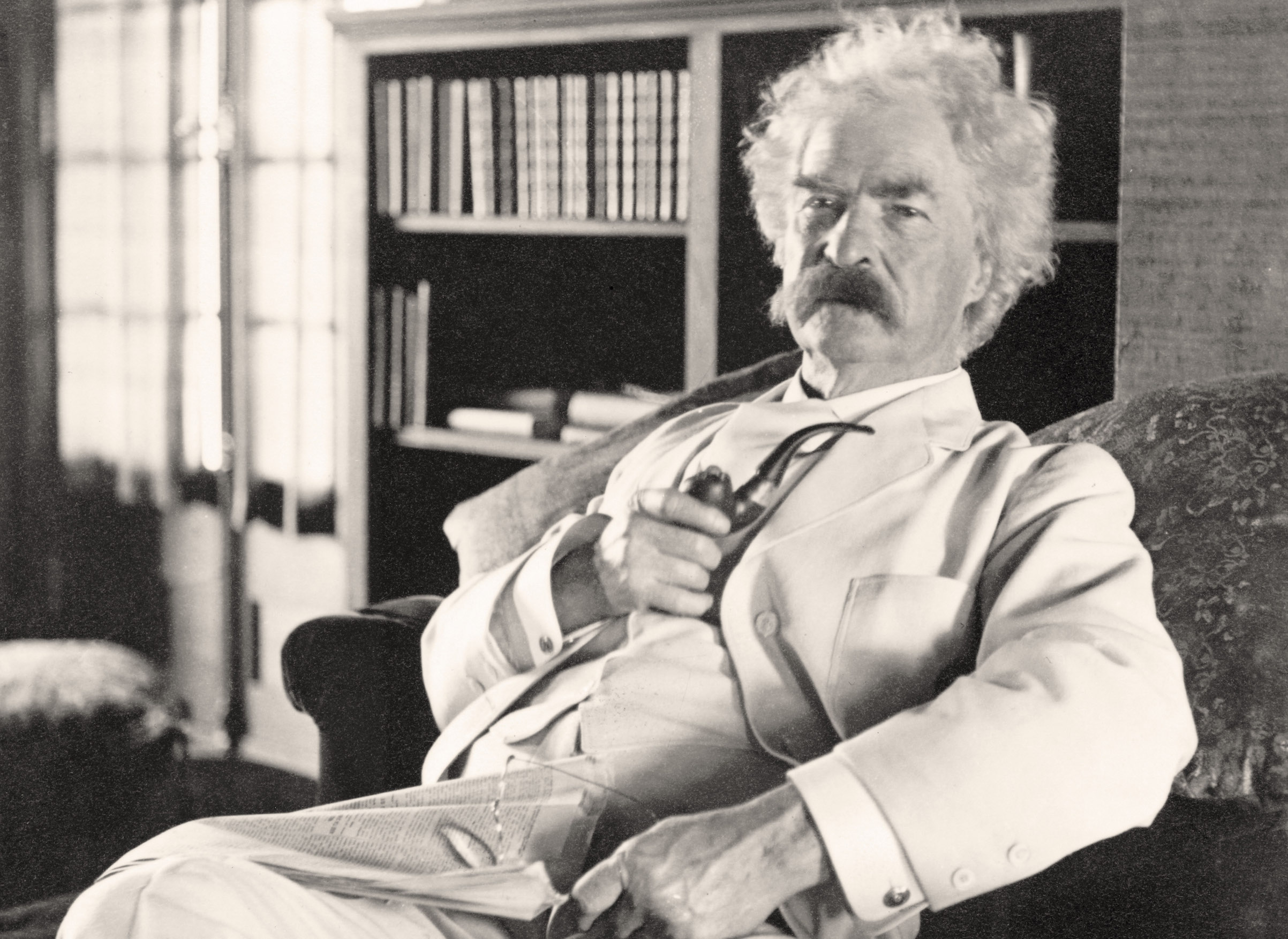 Samuel Langhorne Clemens (1835 to 1910), known by pen name Mark Twain. Photograph taken in his old age.