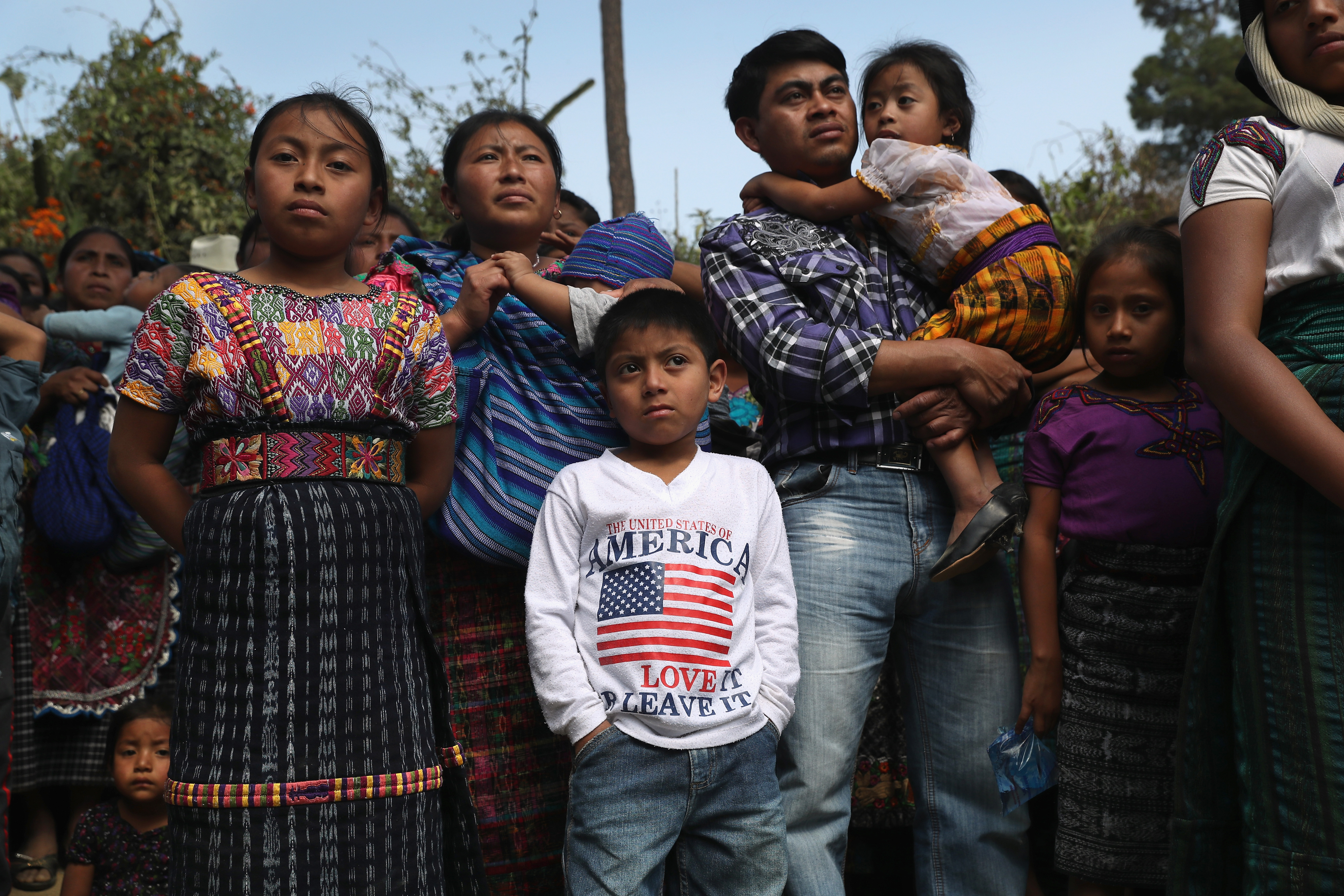 Families attend a memorial service for two boys who were kidnapped and killed in San Juan Sacatepequez, Guatemala on Feb. 14, 2017. More than 2,000 people walked in a funeral procession for Oscar Armando Top Cotzajay, 11, and Carlos Daniel Xiqin, 10 who were abducted walking to school Friday morning when they were abducted.