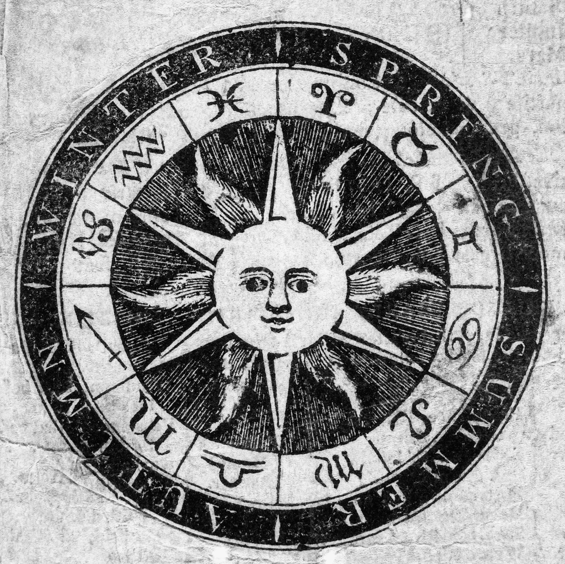 An image of the sun surrounded by a calendar showing seasons and the symbols of the zodiac that appear on the title page of an 1814 almanac written by Nathanael Low, M.D., and published by Munroe and Francis in Boston, Mass.