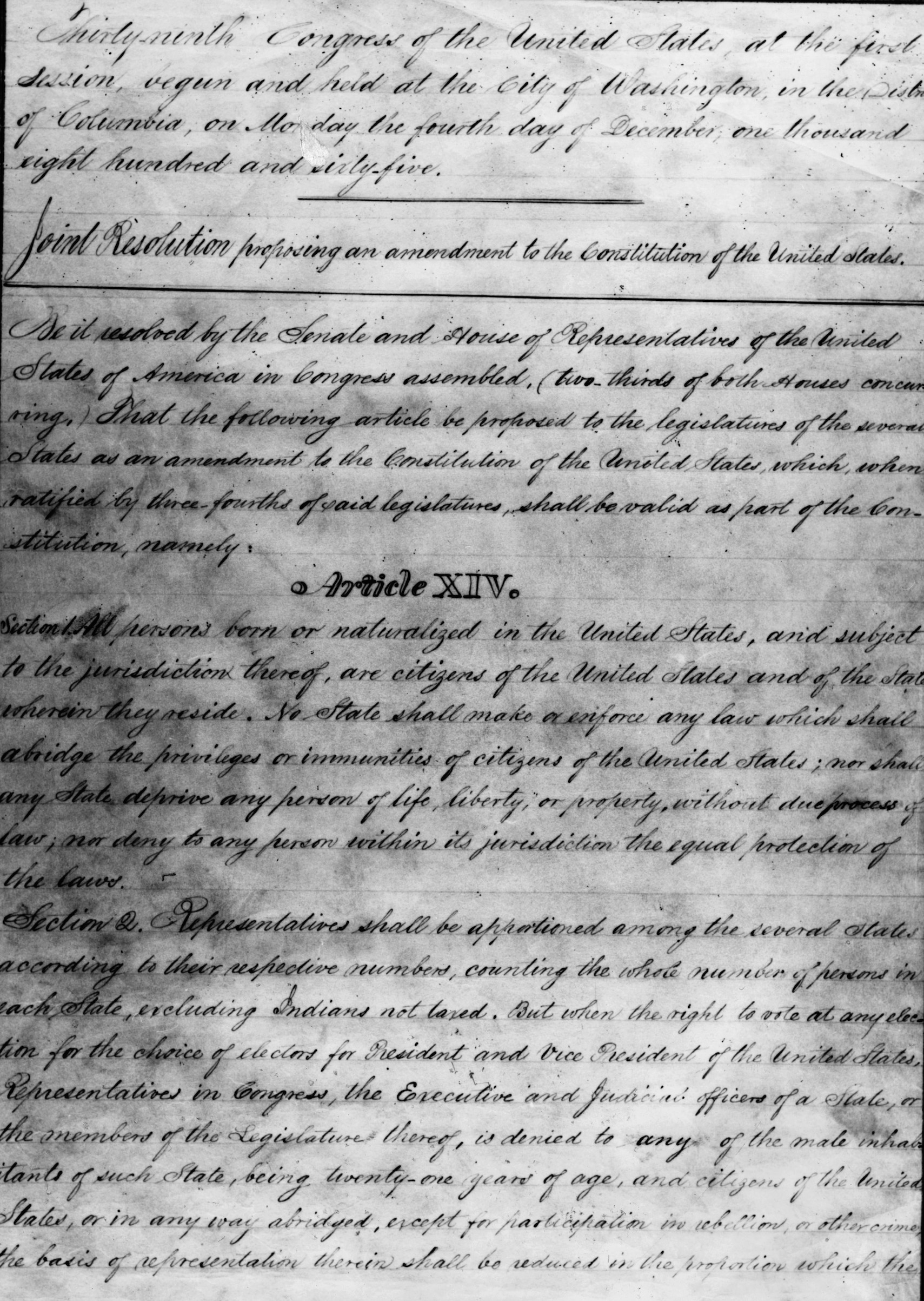 Draft of the 14th Amendment to the United States Constitution, outlining the rights and privileges of American citizenship, ratified in 1868.