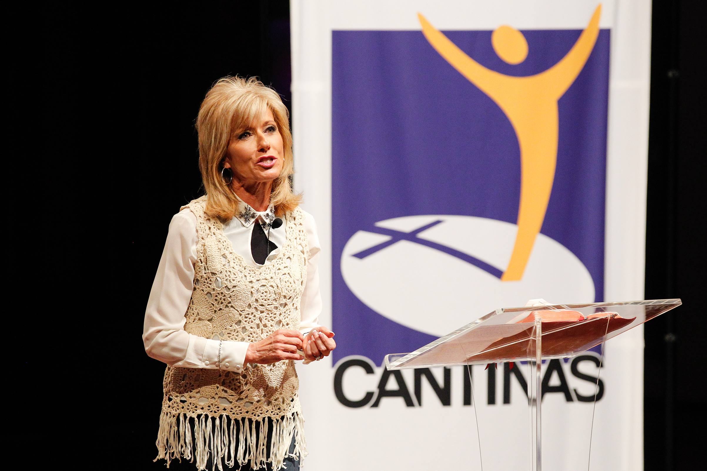 Evangelist and author Beth Moore speaks at the Dove Nominee Luncheon on Oct. 6, 2014 in Nashville.