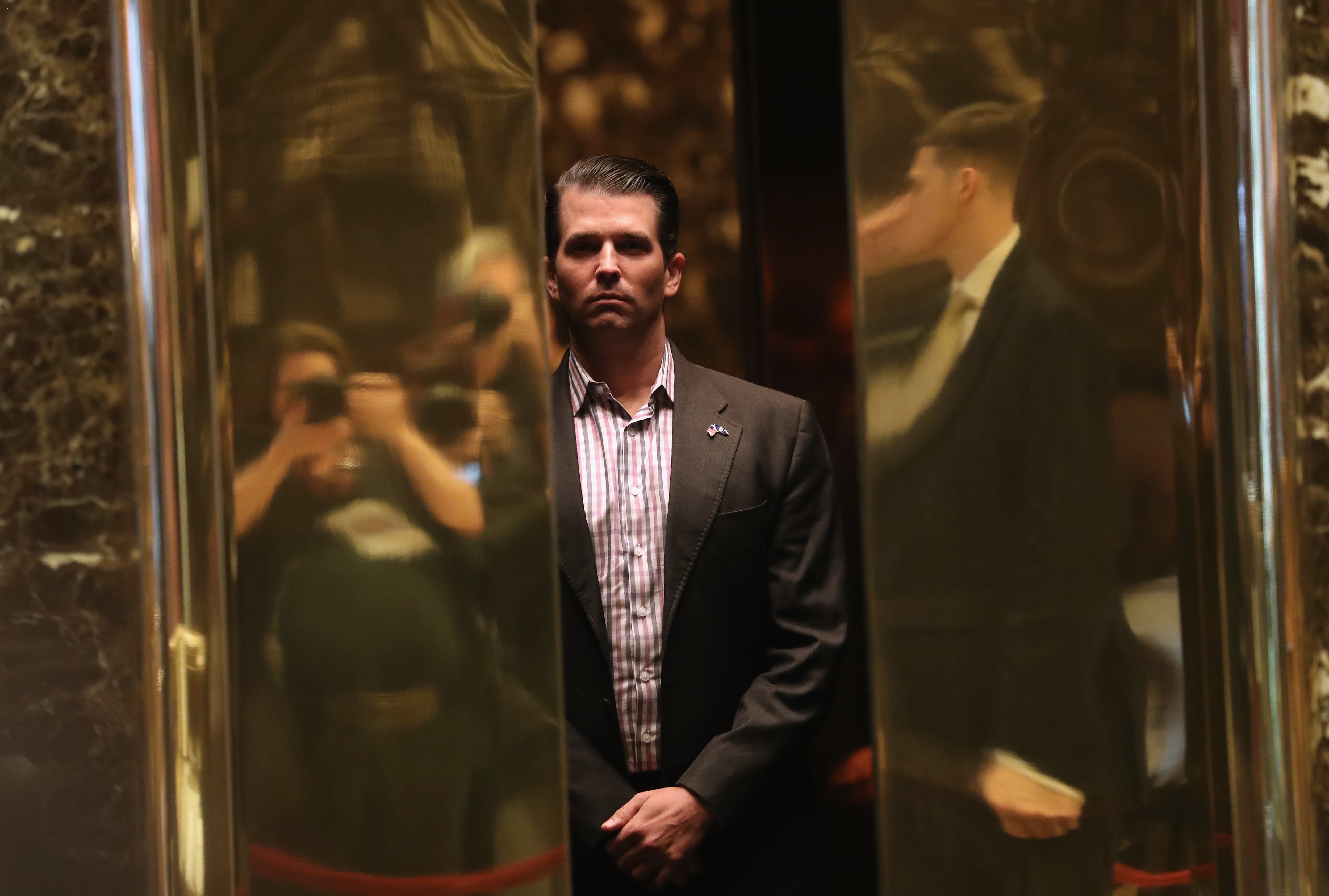 Donald Trump Jr. arrives at Trump Tower on January 18, 2017 in New York City. President-elect Donald Trump is to be sworn in as the 45th President of the United States on January 20.