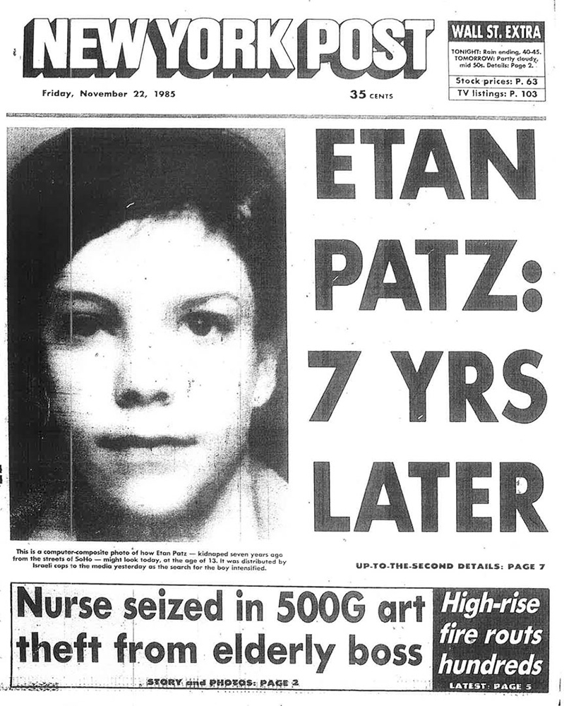 The November 2, 1985, cover featuring Burson's altered image of Etan Patz.