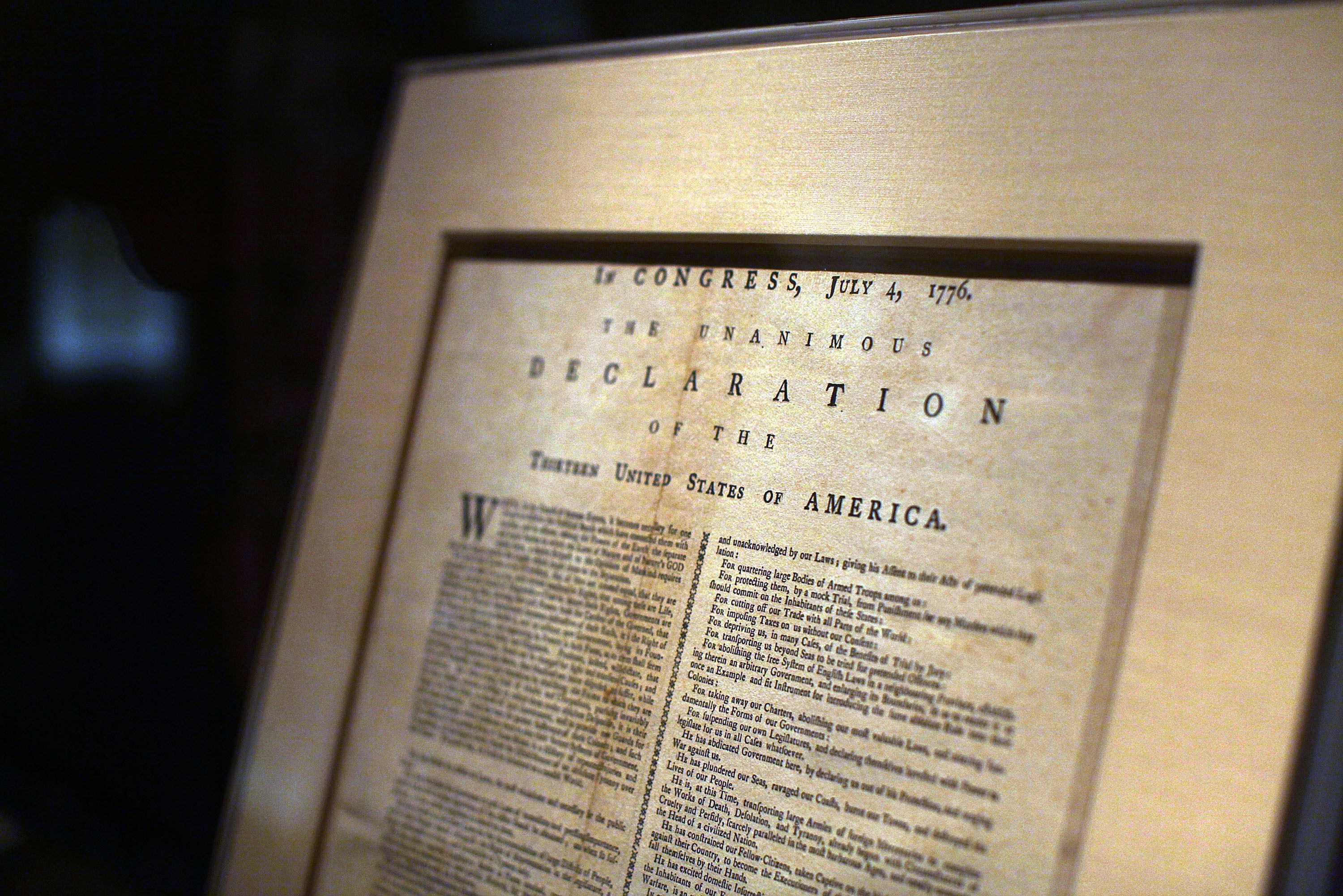 A page from the Declaration of Independence is displayed at the New York Public Library on July 3, 2009 in New York City.