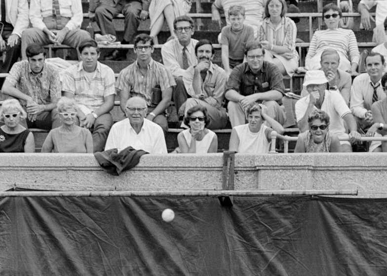 Crowd watches action during Men's Singles Final between Arthur Ashe and Tom Okker, U.S. Open, West Side Tennis Club, Forest Hills New York, September 9, 1968. Photo by John G. Zimmerman.