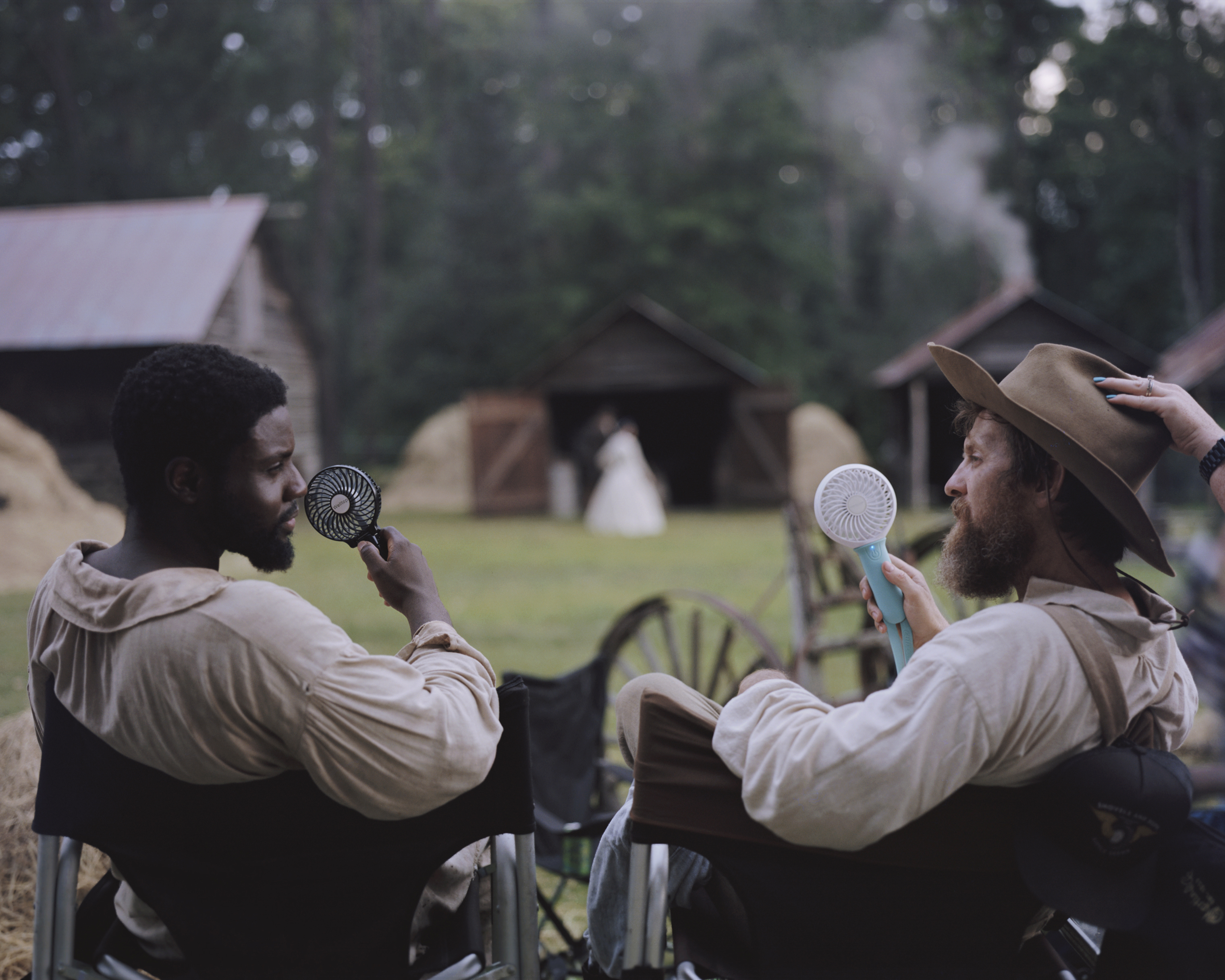 Dayo Okeniyi, left, and Brad Carter on the set of Emperor, an upcoming historical drama produced by Freedom Run Films. Other historical films like Glory and Remember the Titans have also taken advantage of Georgia's timeless landscapes.