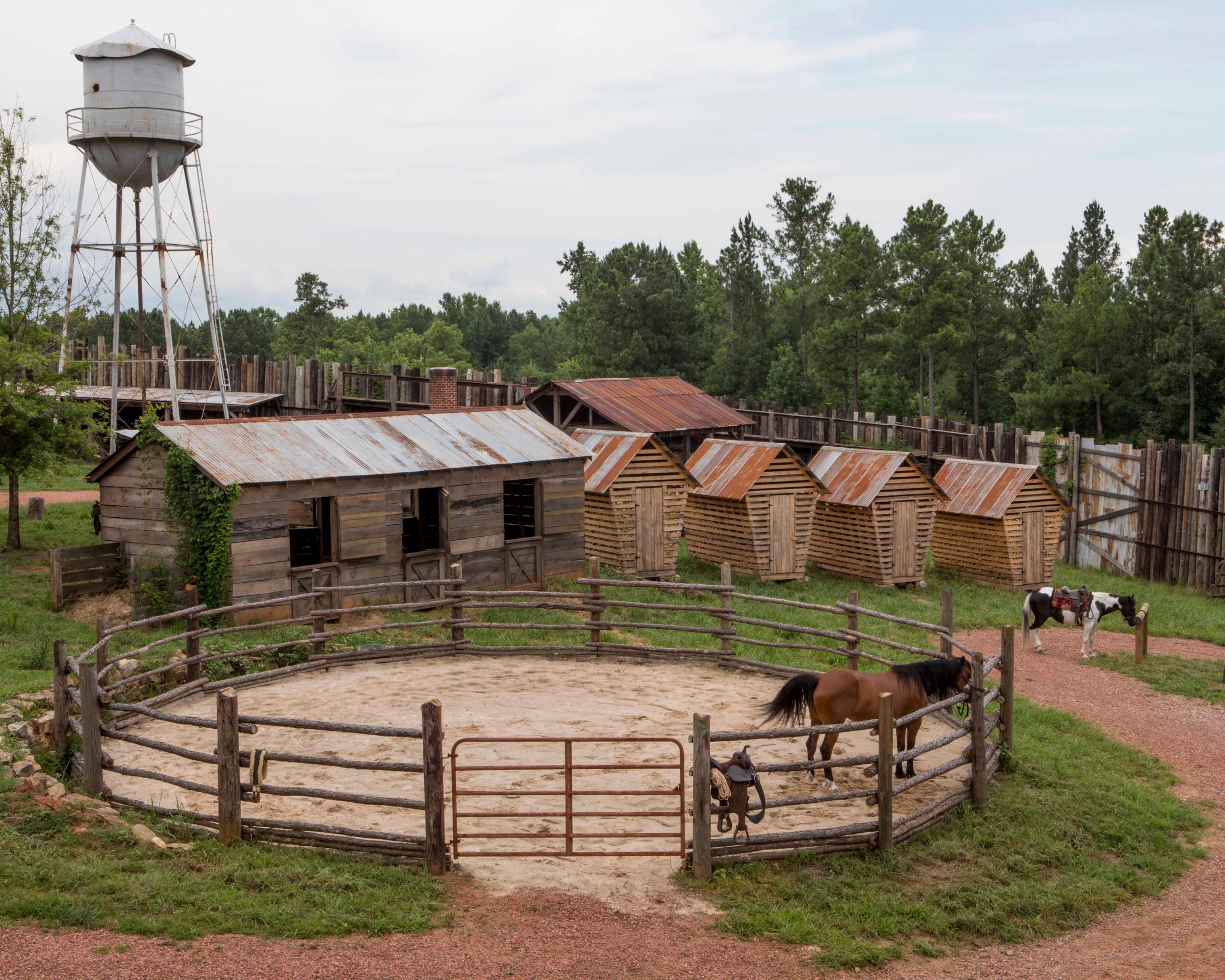 A horse corral set on season 9 of AMC's The Walking Dead filmed in in Senoia, Ga.
